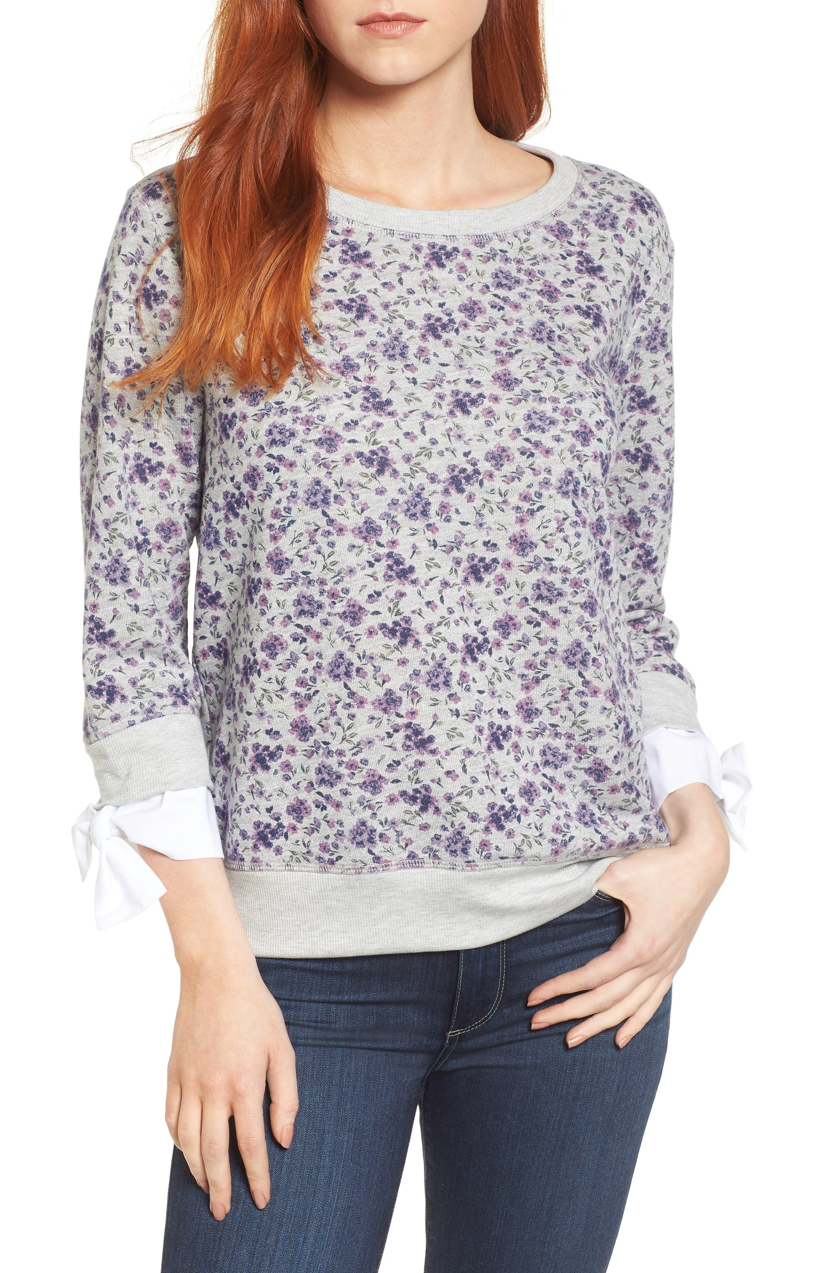 Poplin Cuff Sweatshirt,                             Main thumbnail 1, color,                             GREY FLORAL W/ WHITE POPLIN