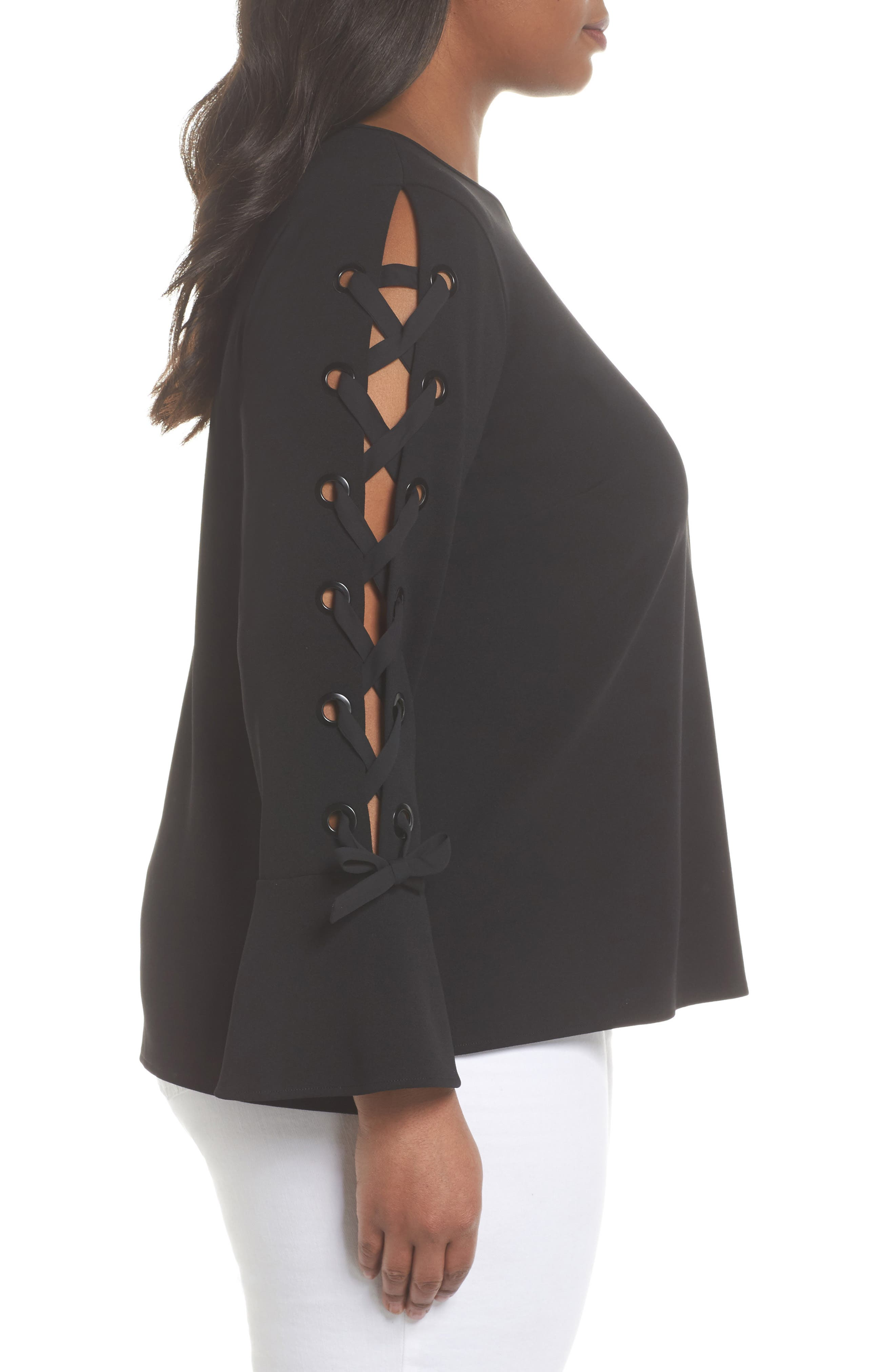 Lace-Up Bell Sleeve Top,                             Alternate thumbnail 6, color,