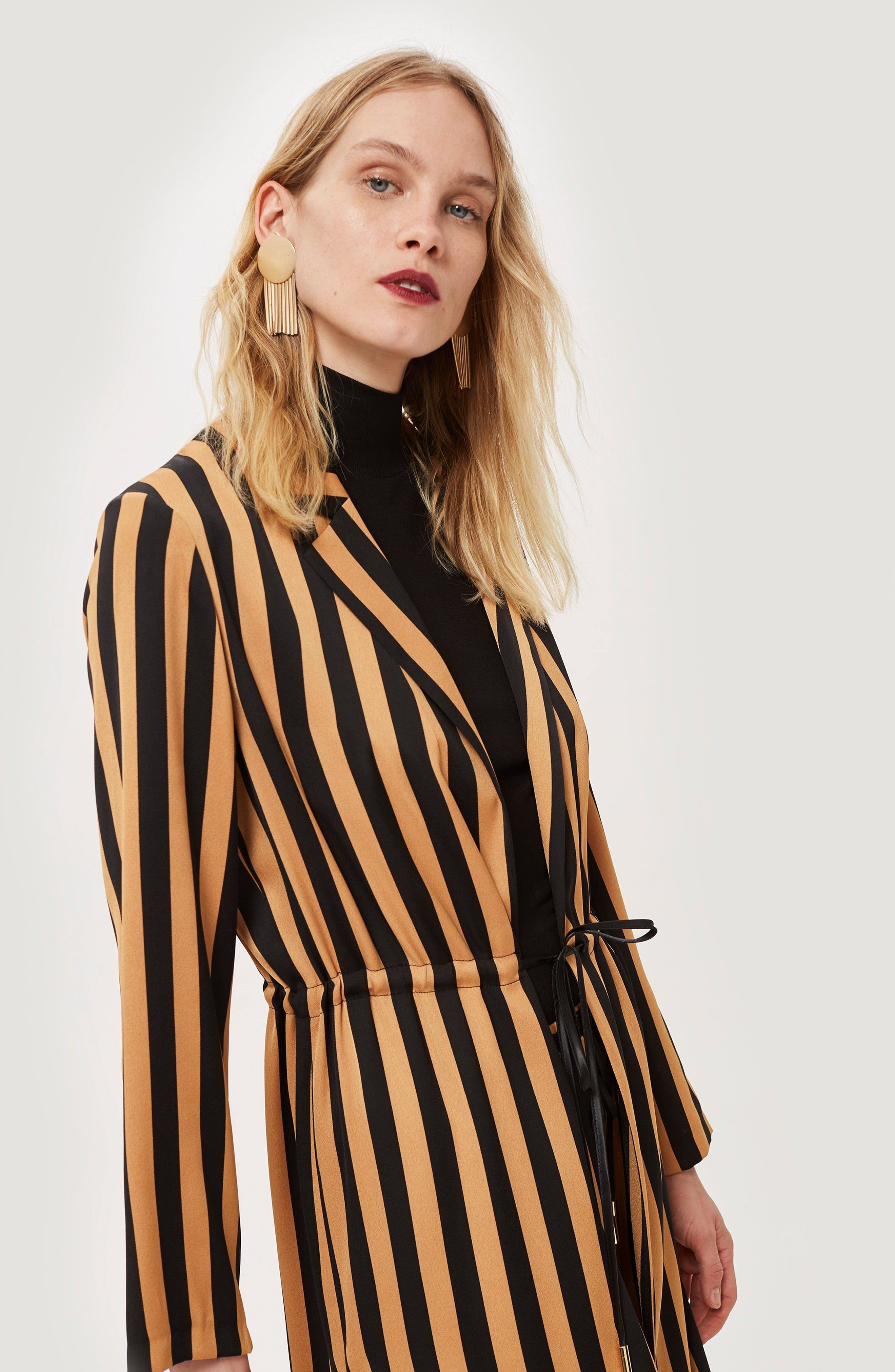 TOPSHOP,                             Stripe Duster Jacket,                             Alternate thumbnail 6, color,                             201