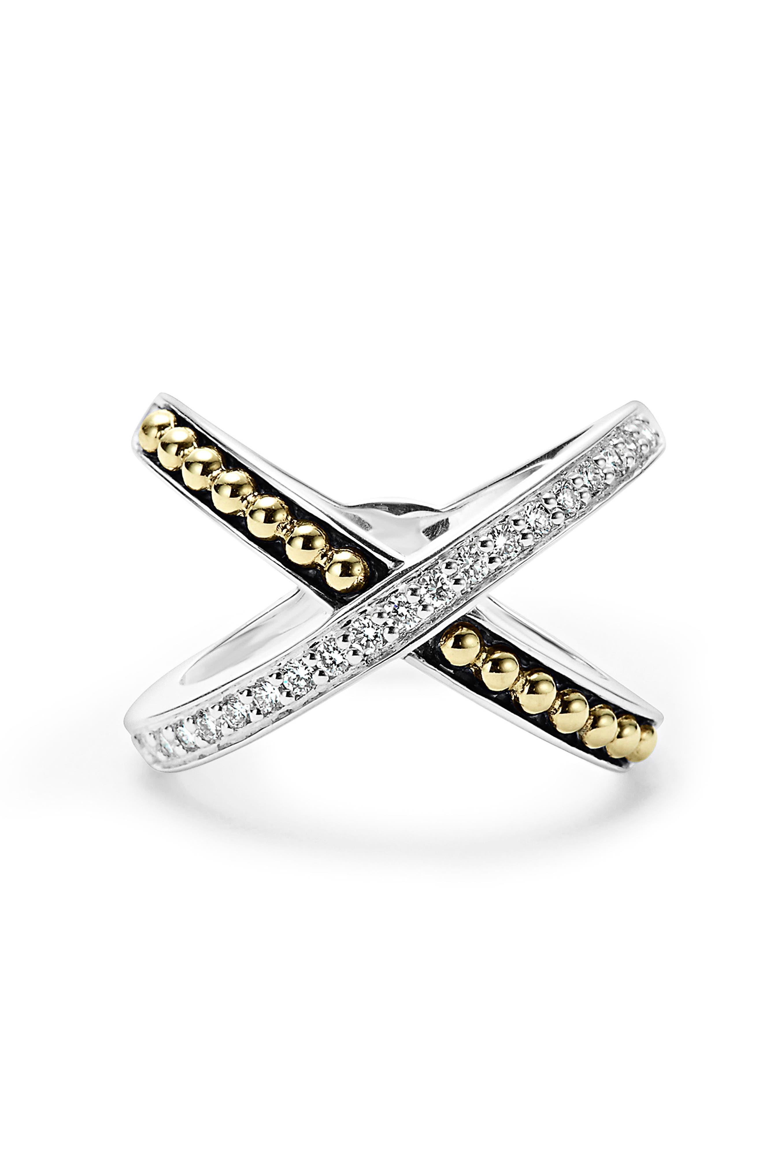 KSL Diamond Pavé Crossover Ring,                             Alternate thumbnail 3, color,                             SILVER/ GOLD/ DIAMOND