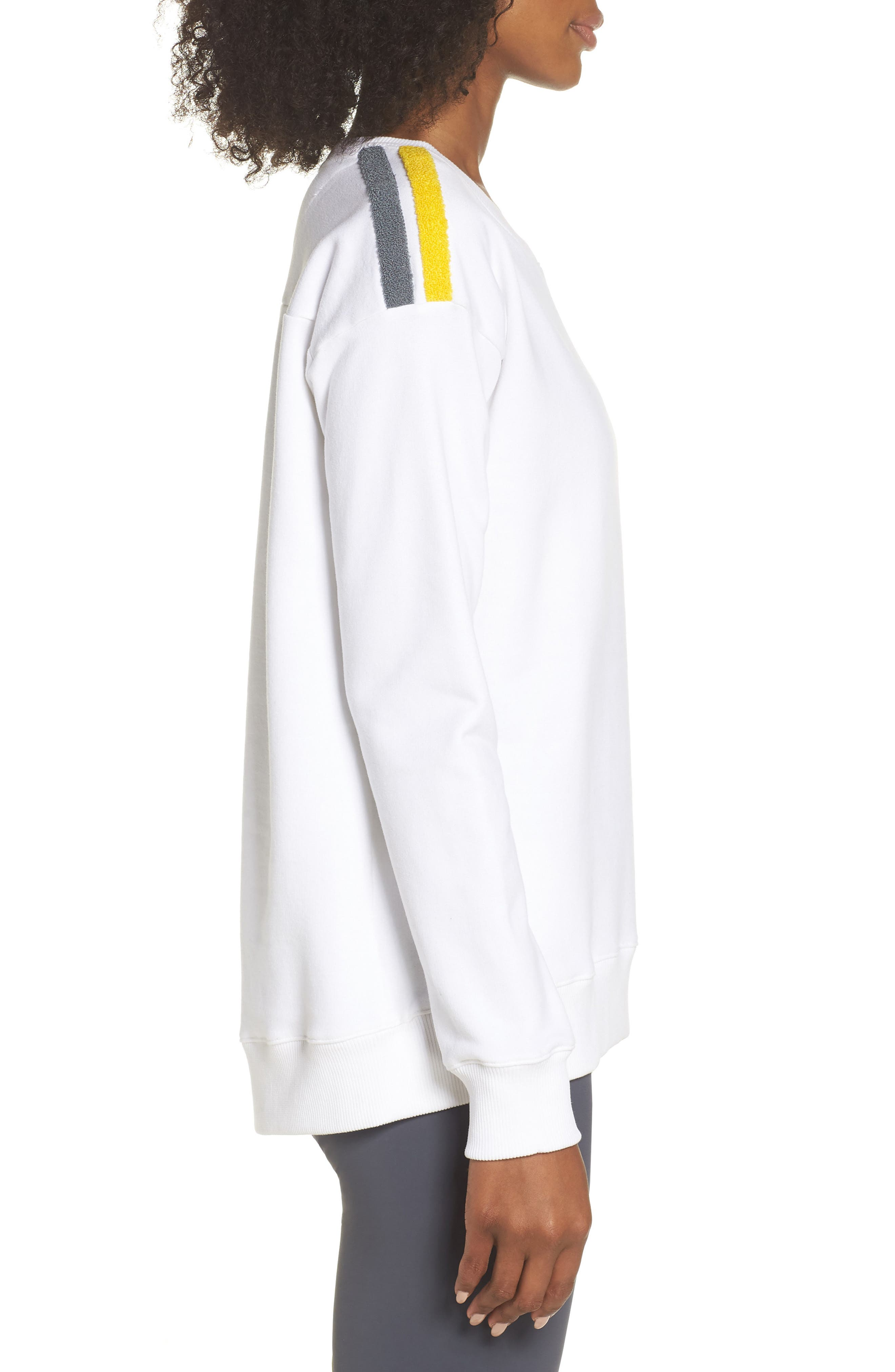 BoomBoom Athletica Tricolor Shoulder Sweatshirt,                             Alternate thumbnail 3, color,                             WHITE/ GREY/ YELLOW