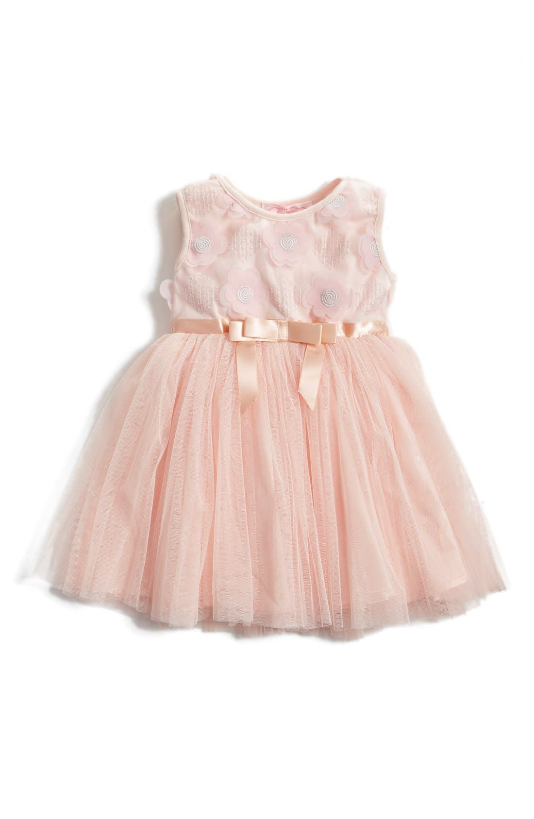 Floral Appliqué Tulle Dress,                         Main,                         color, PINK