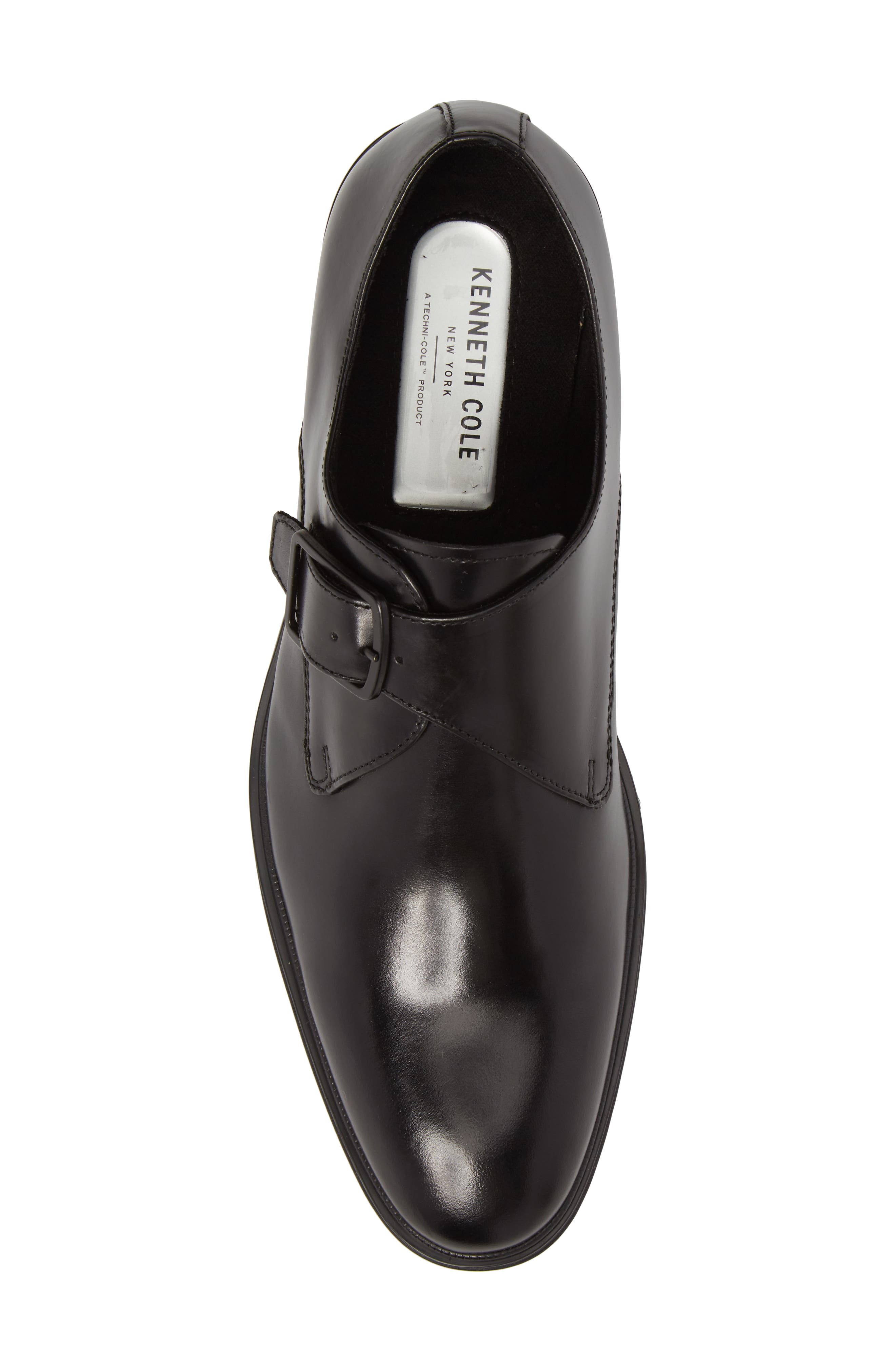 Tully Single Buckle Monk Shoe,                             Alternate thumbnail 5, color,                             BLACK LEATHER