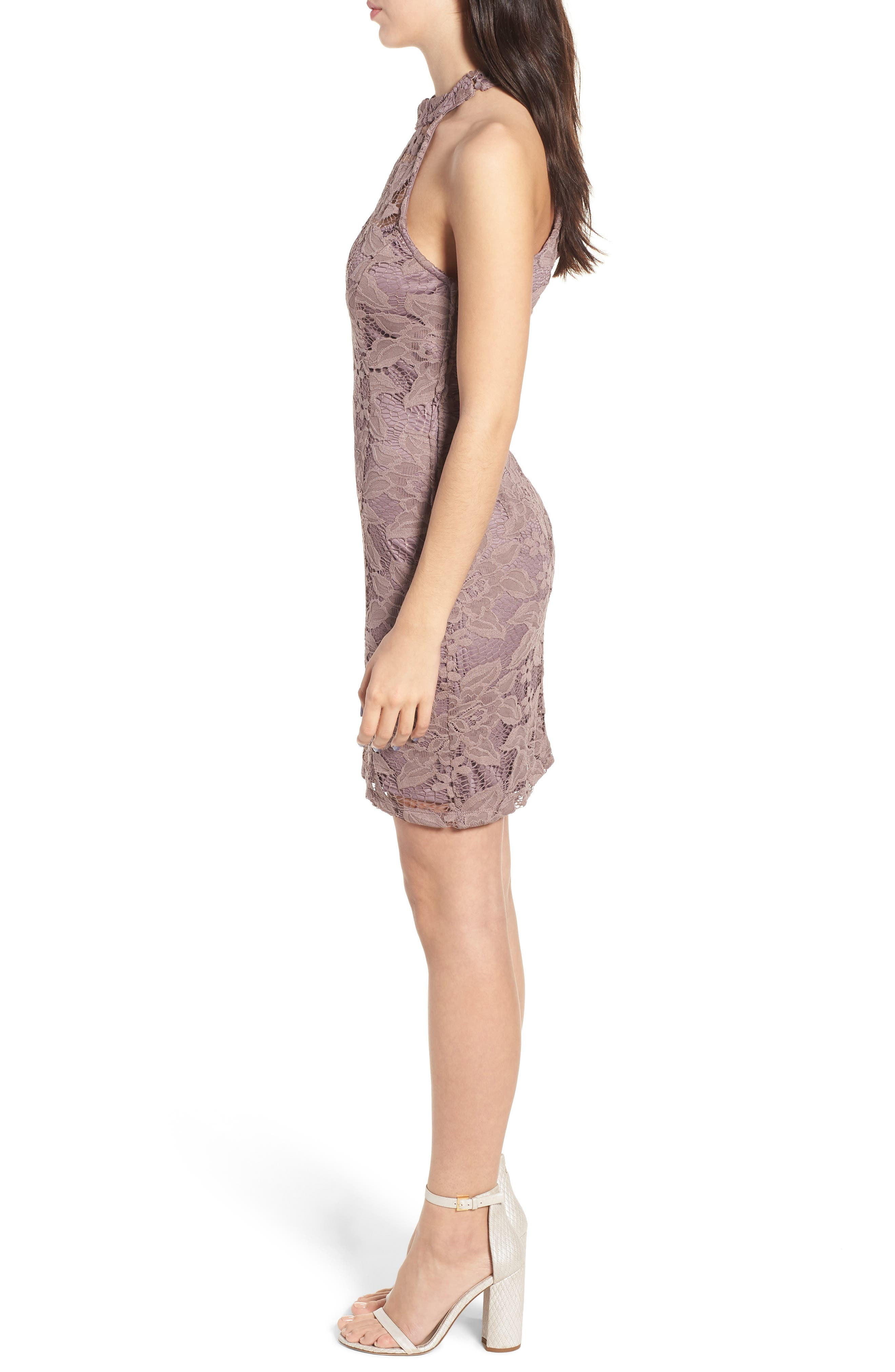 Lace Body-Con Minidress,                             Alternate thumbnail 3, color,                             650