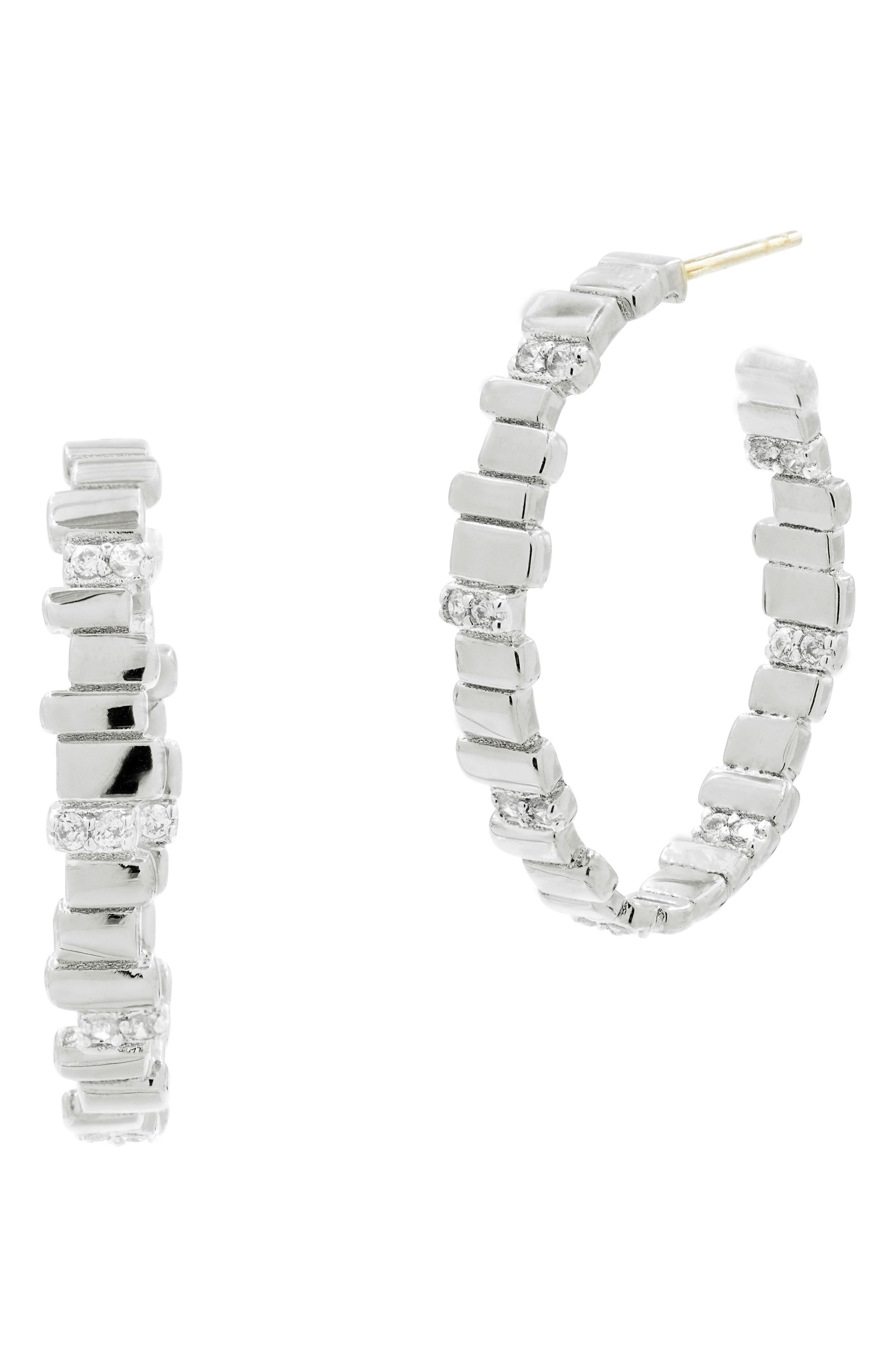 Radiance Cubic Zirconia Hoop Earrings,                             Main thumbnail 1, color,                             SILVER