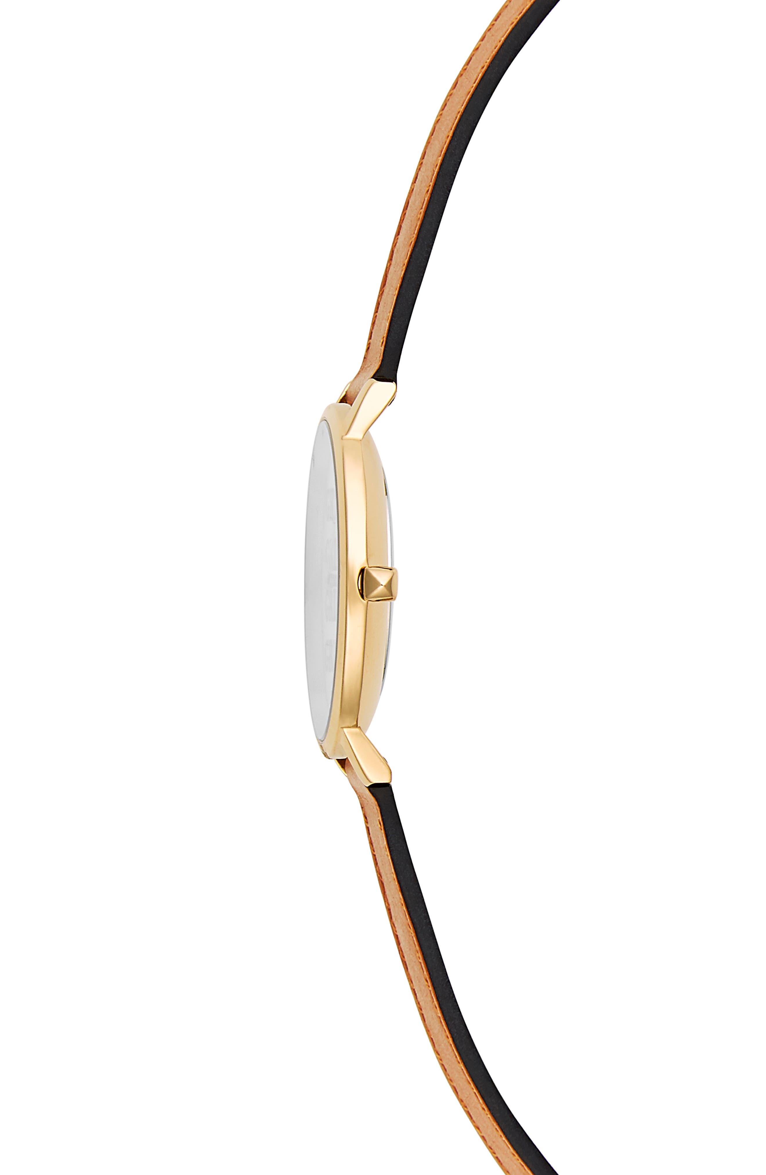 Rebeca Minkoff Major GRL PWR Leather Strap Watch, 35mm,                             Alternate thumbnail 3, color,                             ALMOND/ SILVER/ GOLD