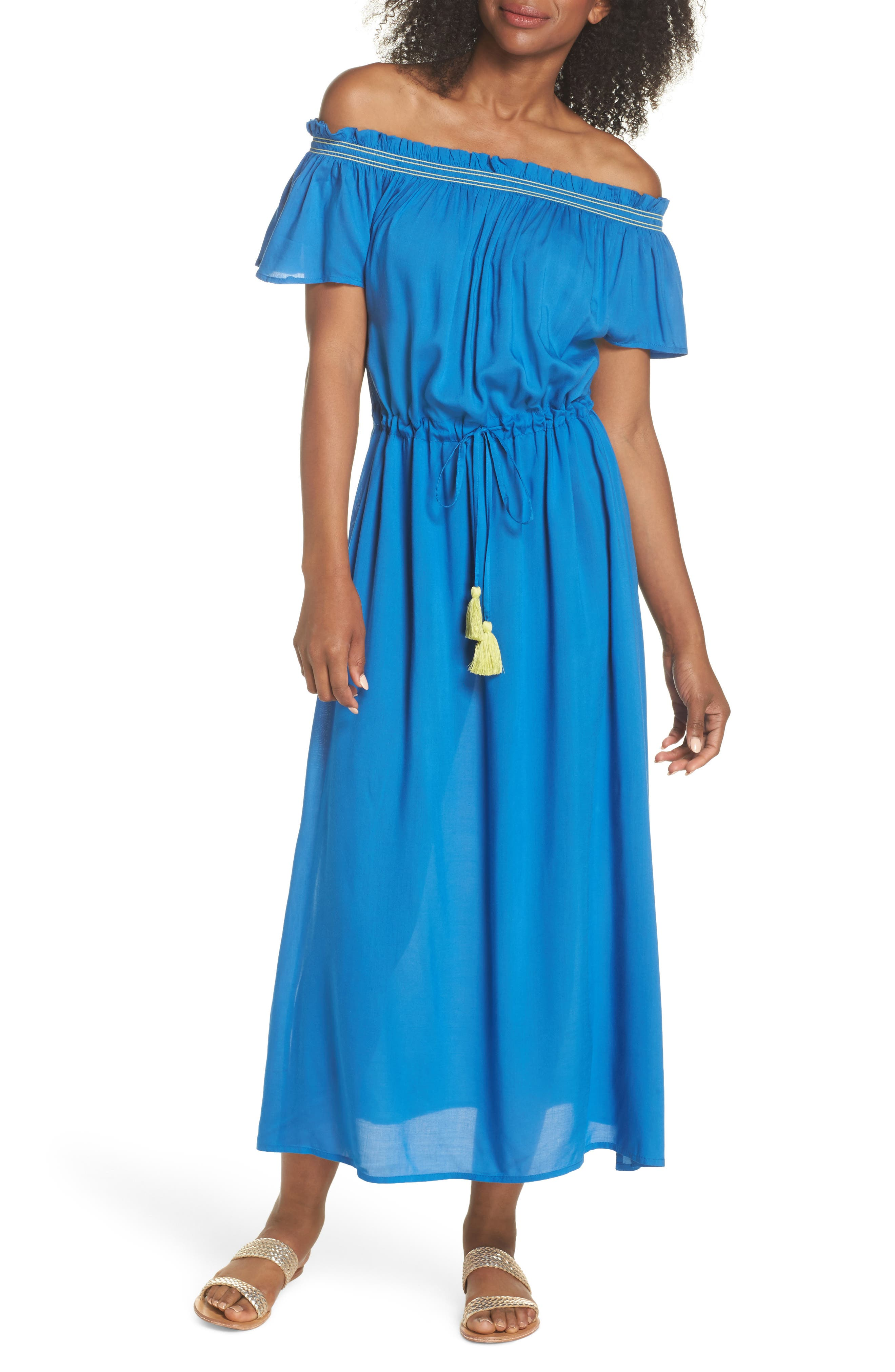 Off the Shoulder Cover-Up Dress,                             Main thumbnail 2, color,