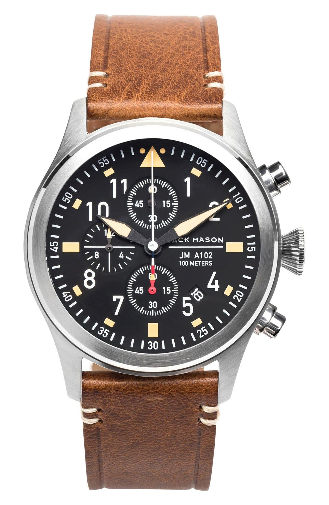 Chronograph Leather Strap Watch, 42mm,                             Main thumbnail 1, color,                             BLACK/ SILVER/ SADDLE