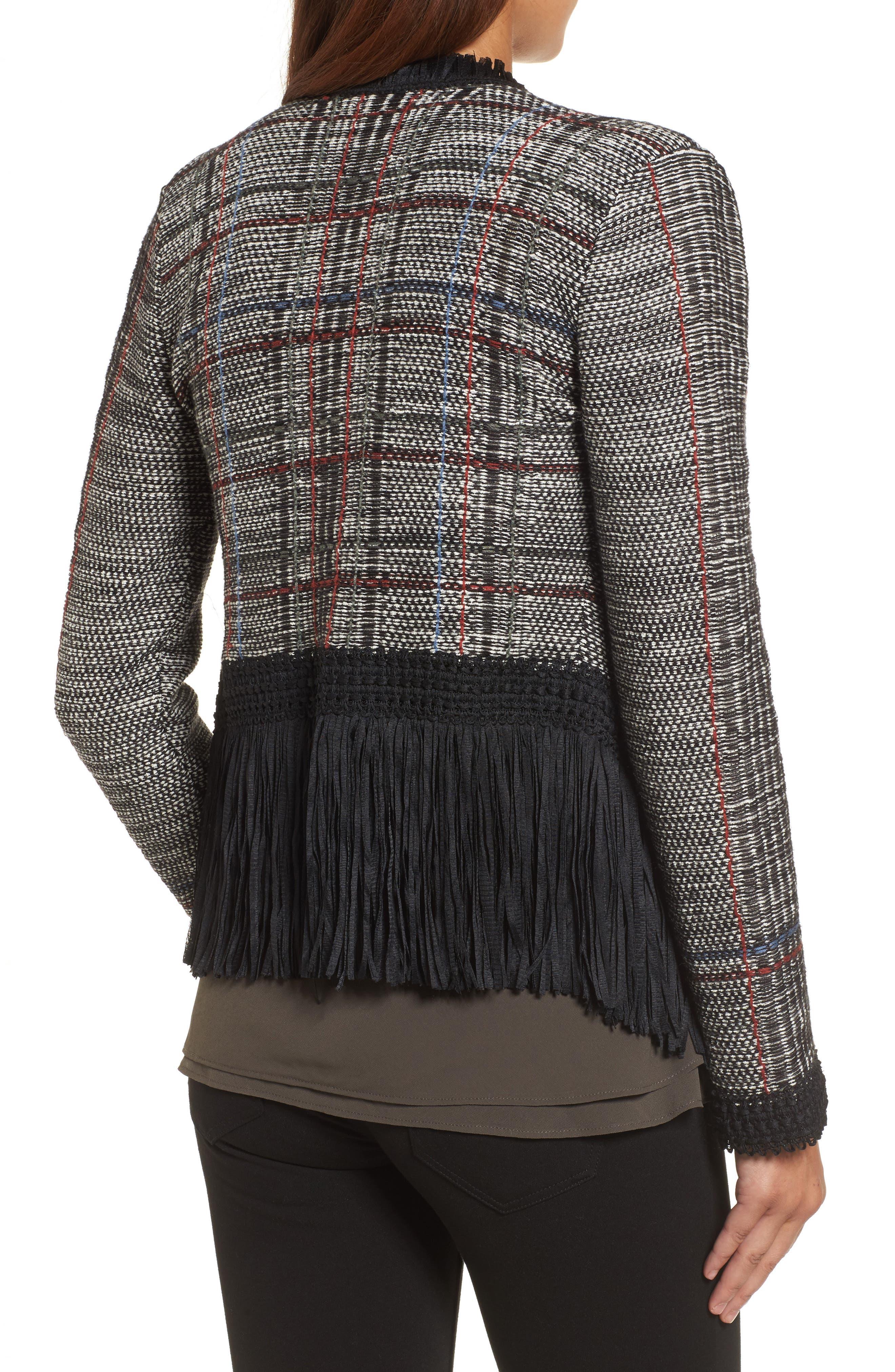 Plaid Tweed Fringe Jacket,                             Alternate thumbnail 2, color,                             090