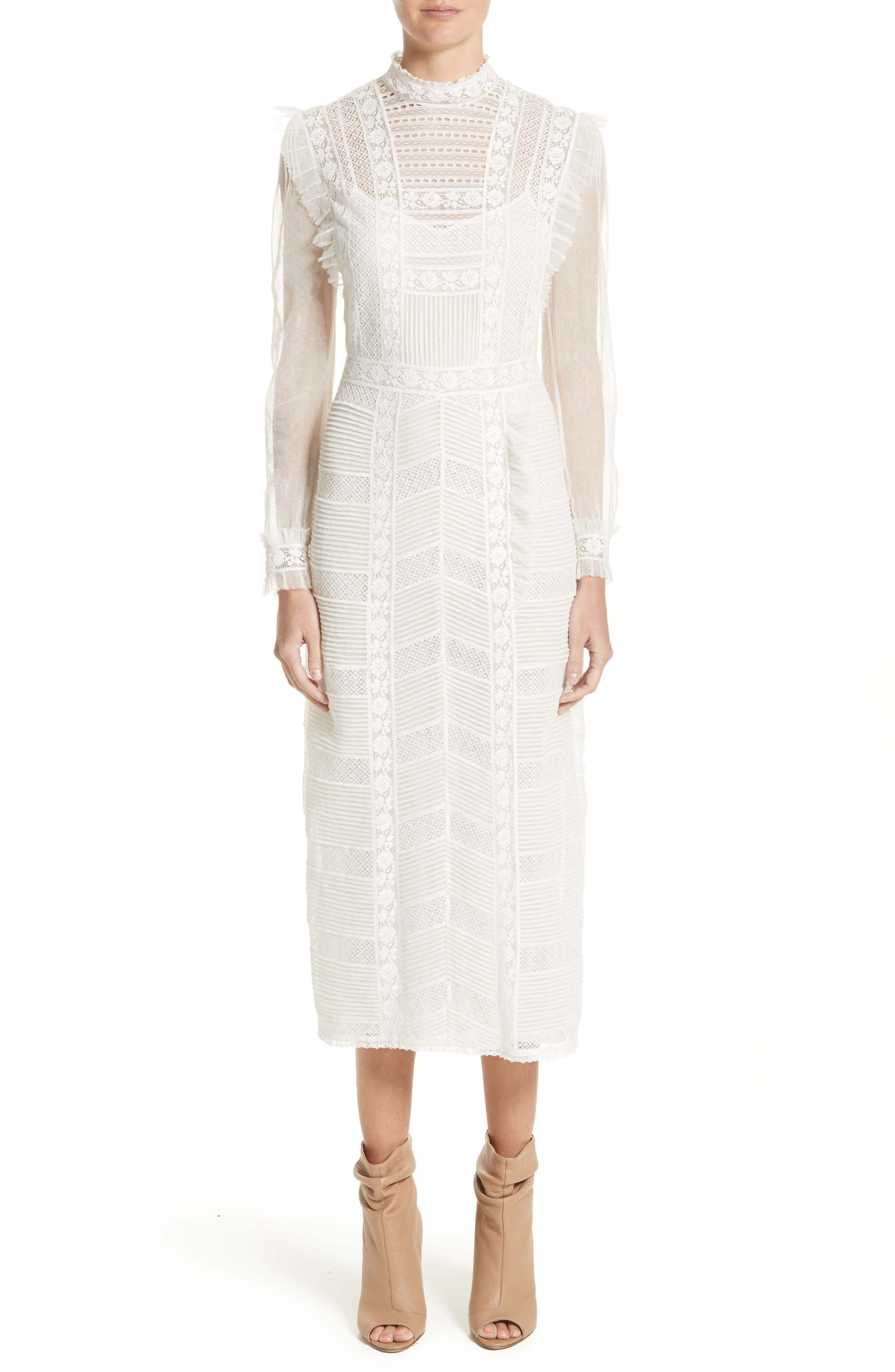Chanella Lace Midi Dress,                             Main thumbnail 1, color,                             100