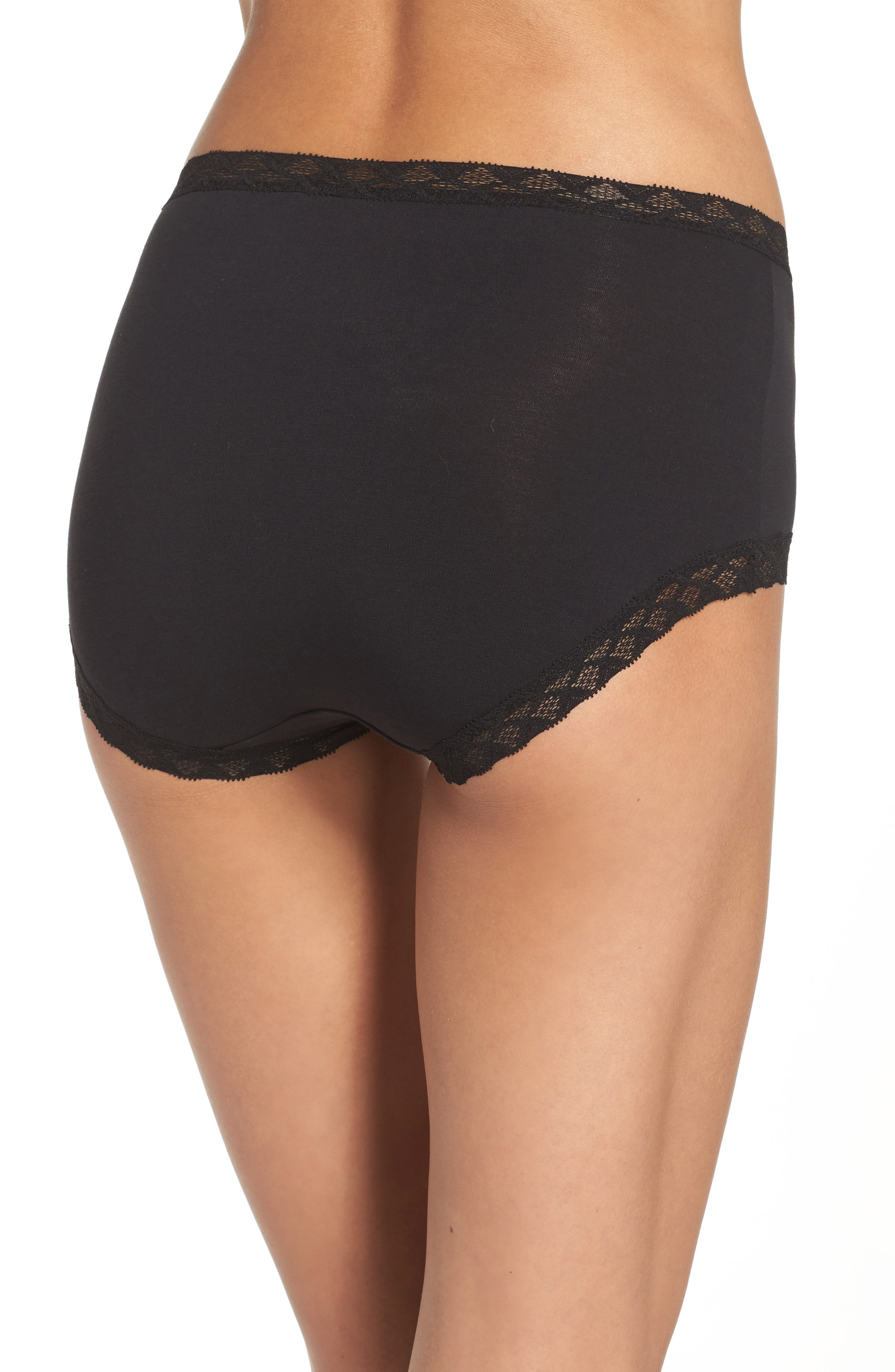 Bliss Cotton Full Brief,                             Alternate thumbnail 3, color,                             BLACK