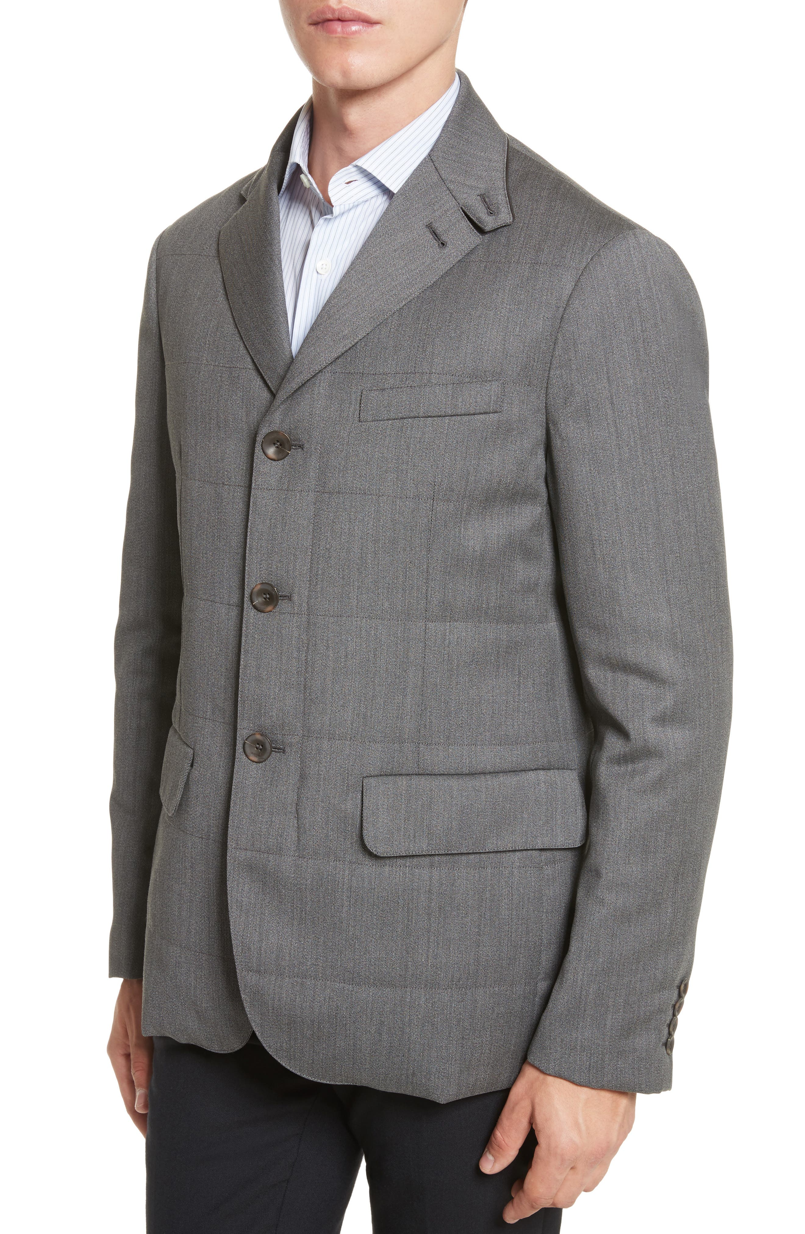 Water-Resistant Wool Jacket with Bib,                             Alternate thumbnail 4, color,                             050