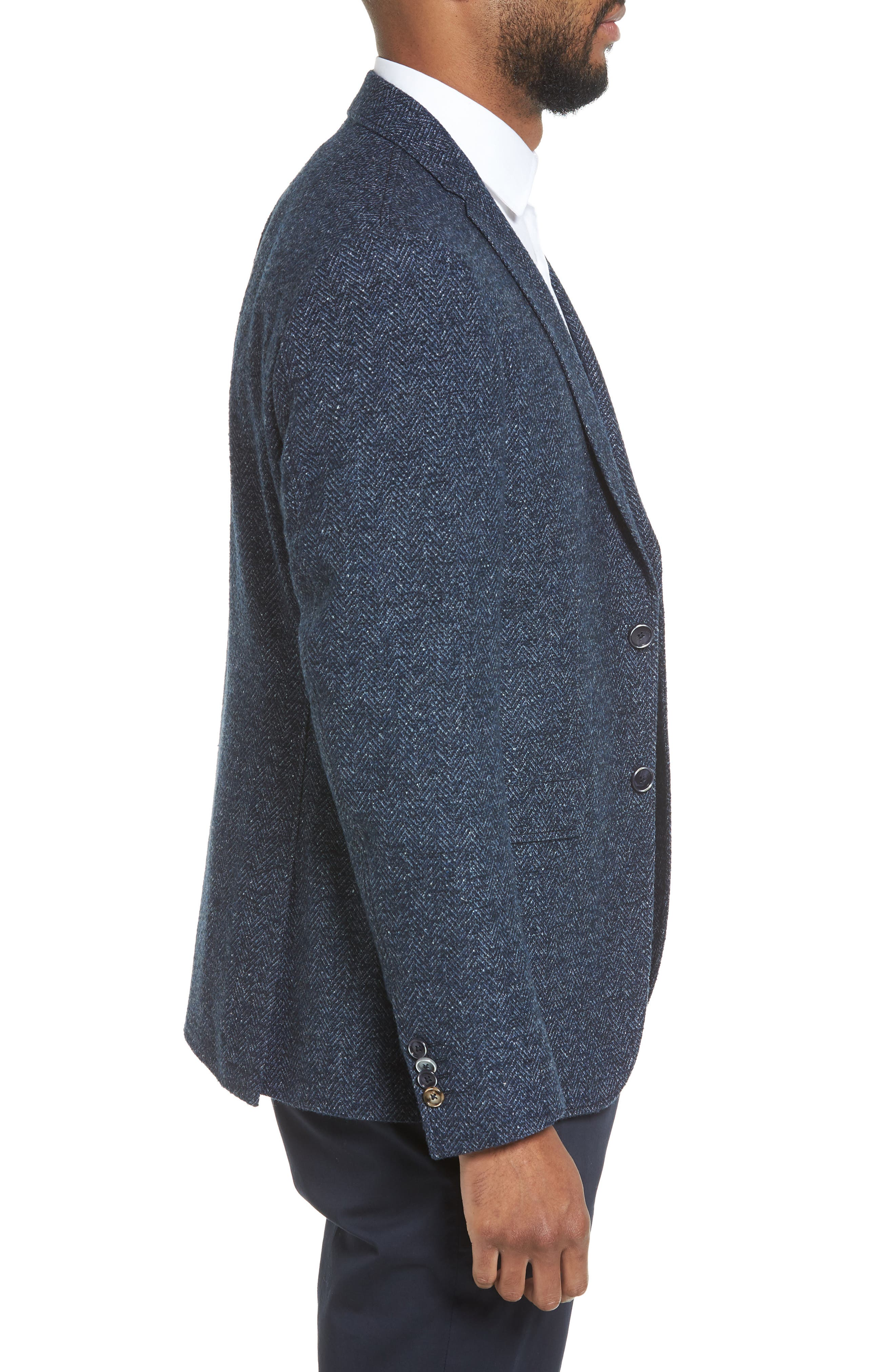 Trim Fit Herringbone Wool Blend Sport Coat,                             Alternate thumbnail 3, color,