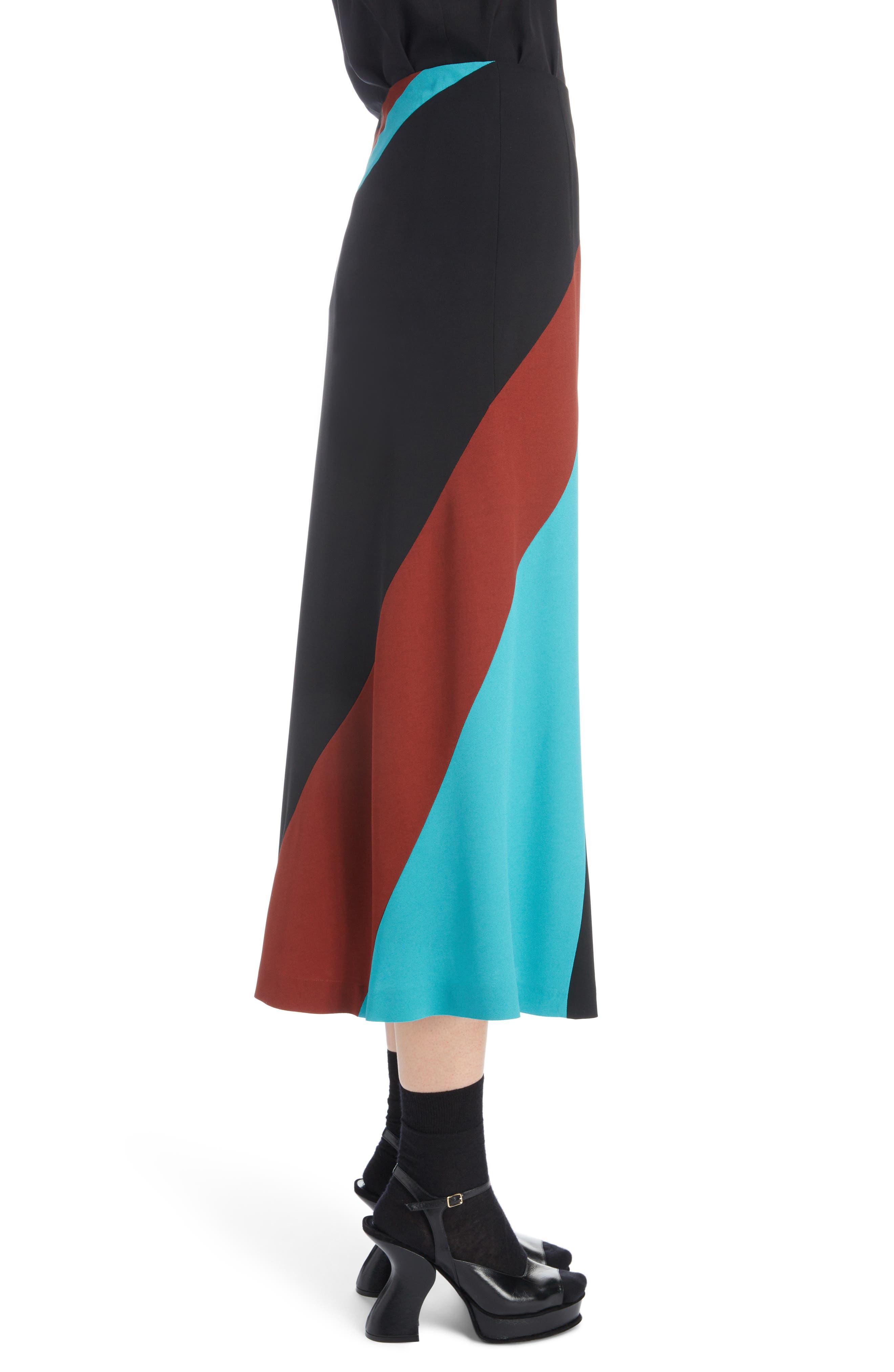 Curved Inset Midi Skirt,                             Alternate thumbnail 3, color,                             BLACK