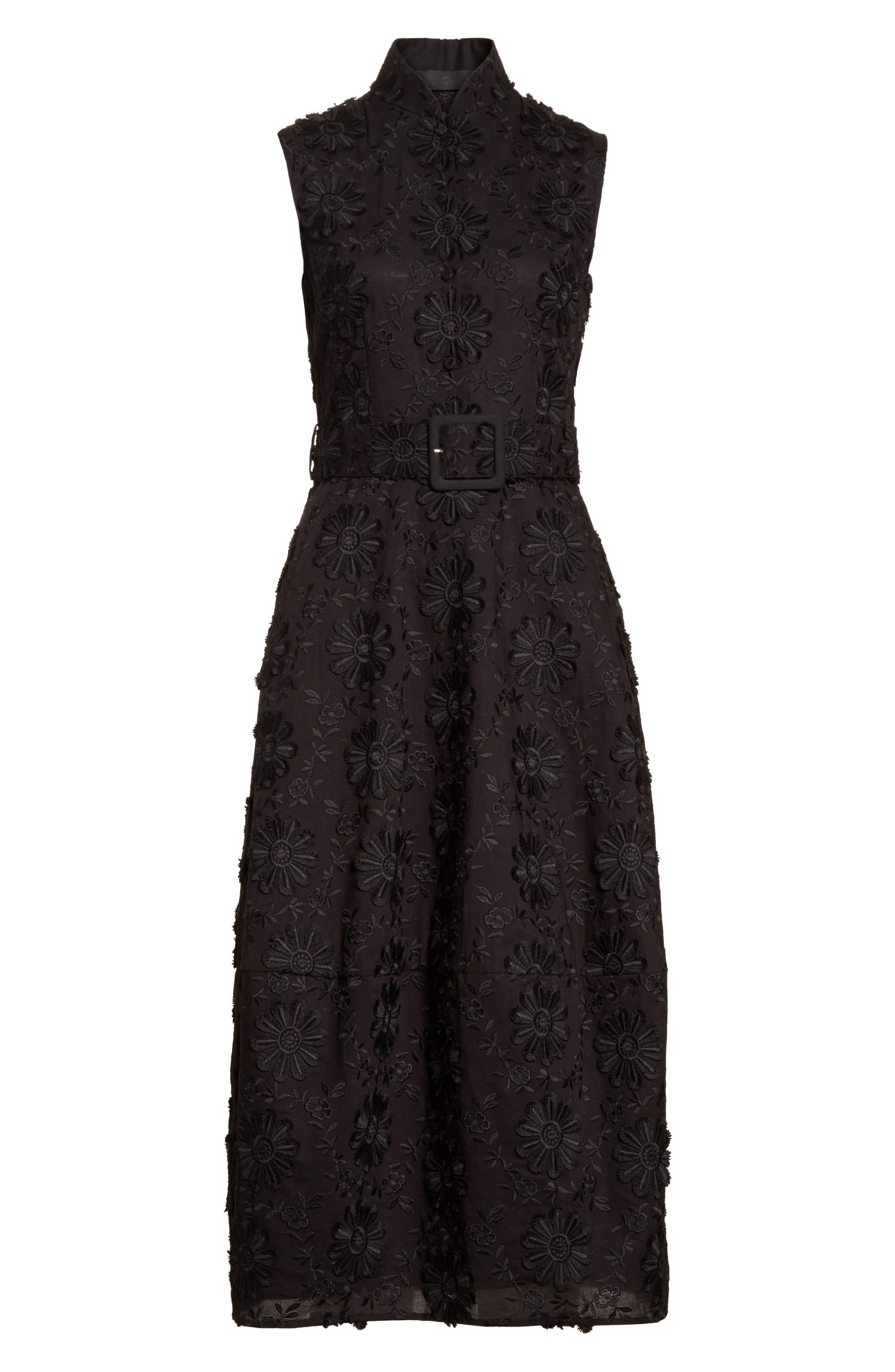Floral Embroidered Dress,                             Alternate thumbnail 6, color,                             001