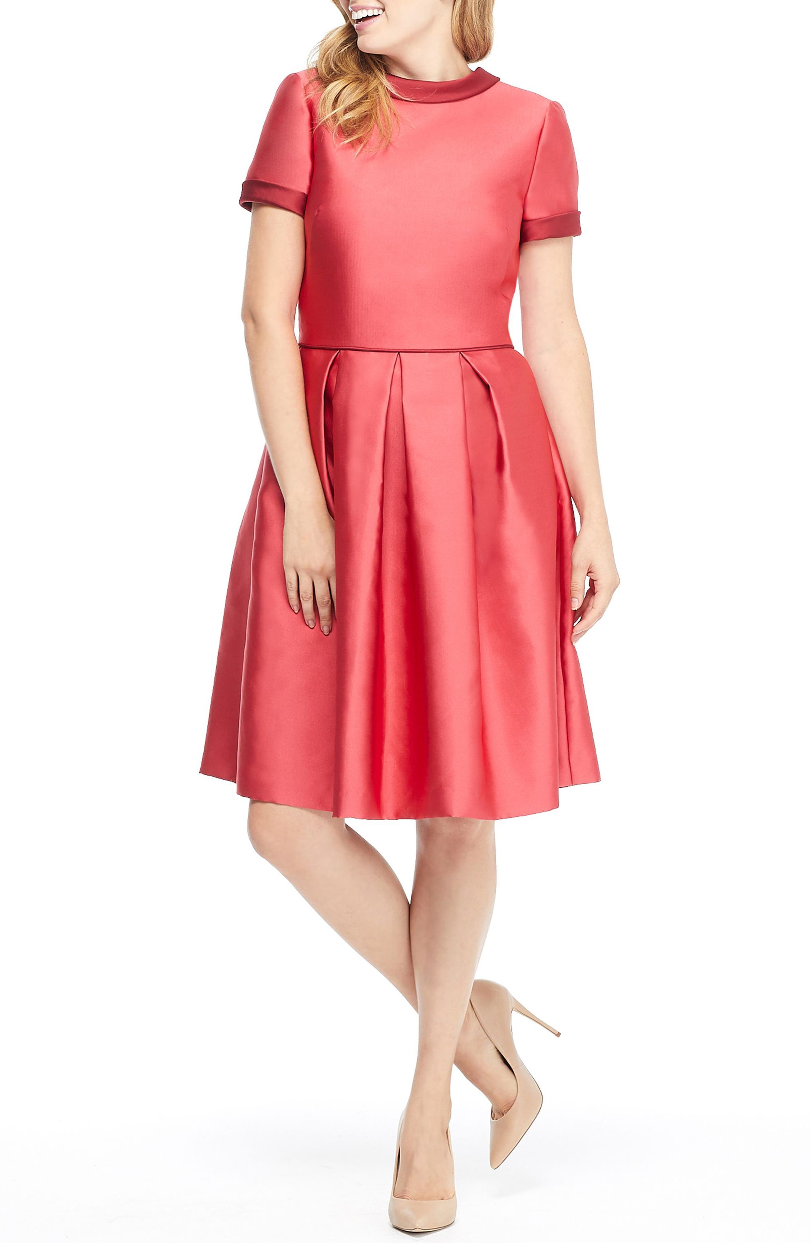 Gal Meets Glam Collection Annabelle Bow Back Double Face Satin Dress, Red