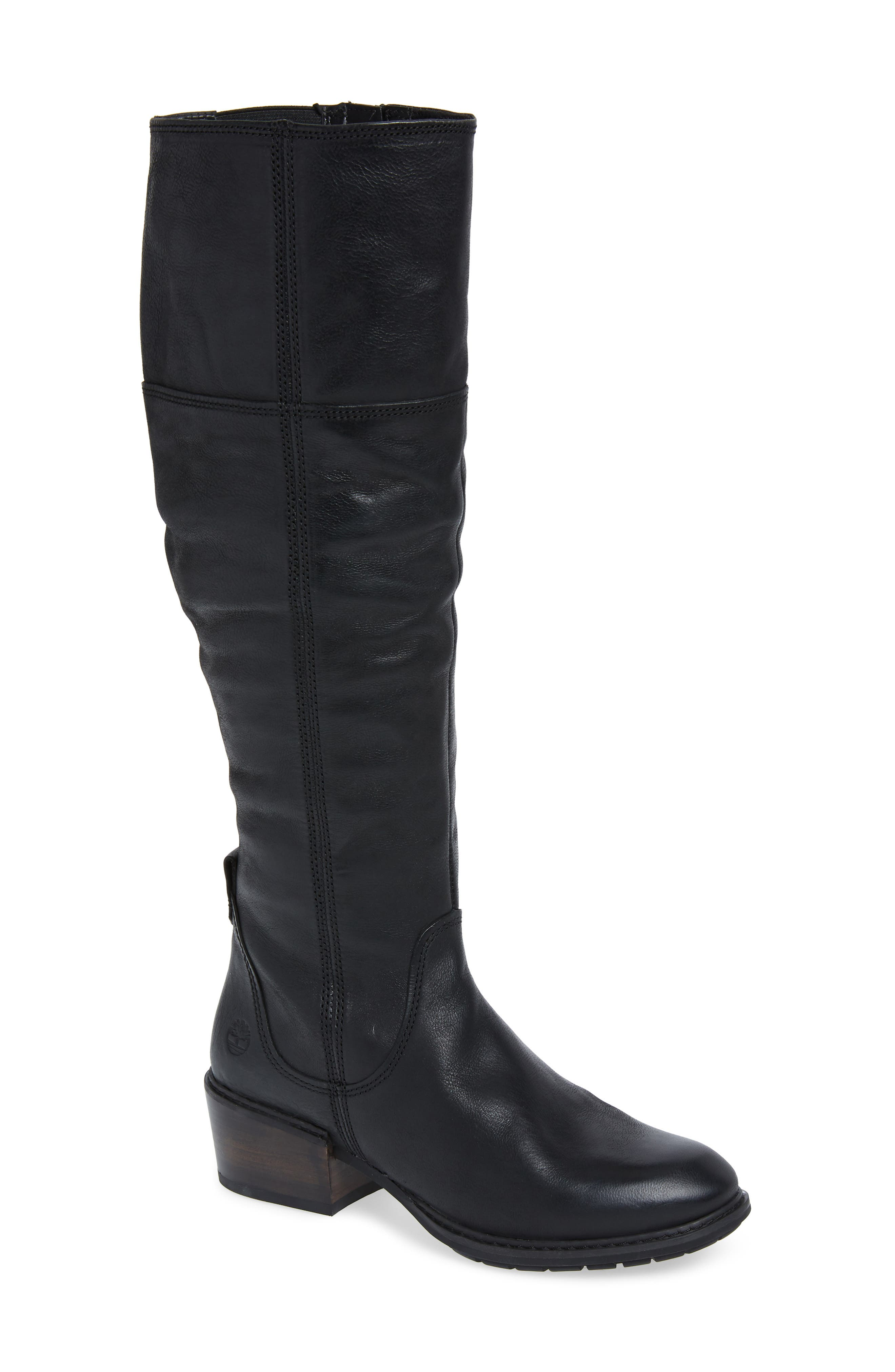 Sutherlin Bay Slouch Knee High Boot,                             Main thumbnail 1, color,                             JET BLACK LEATHER