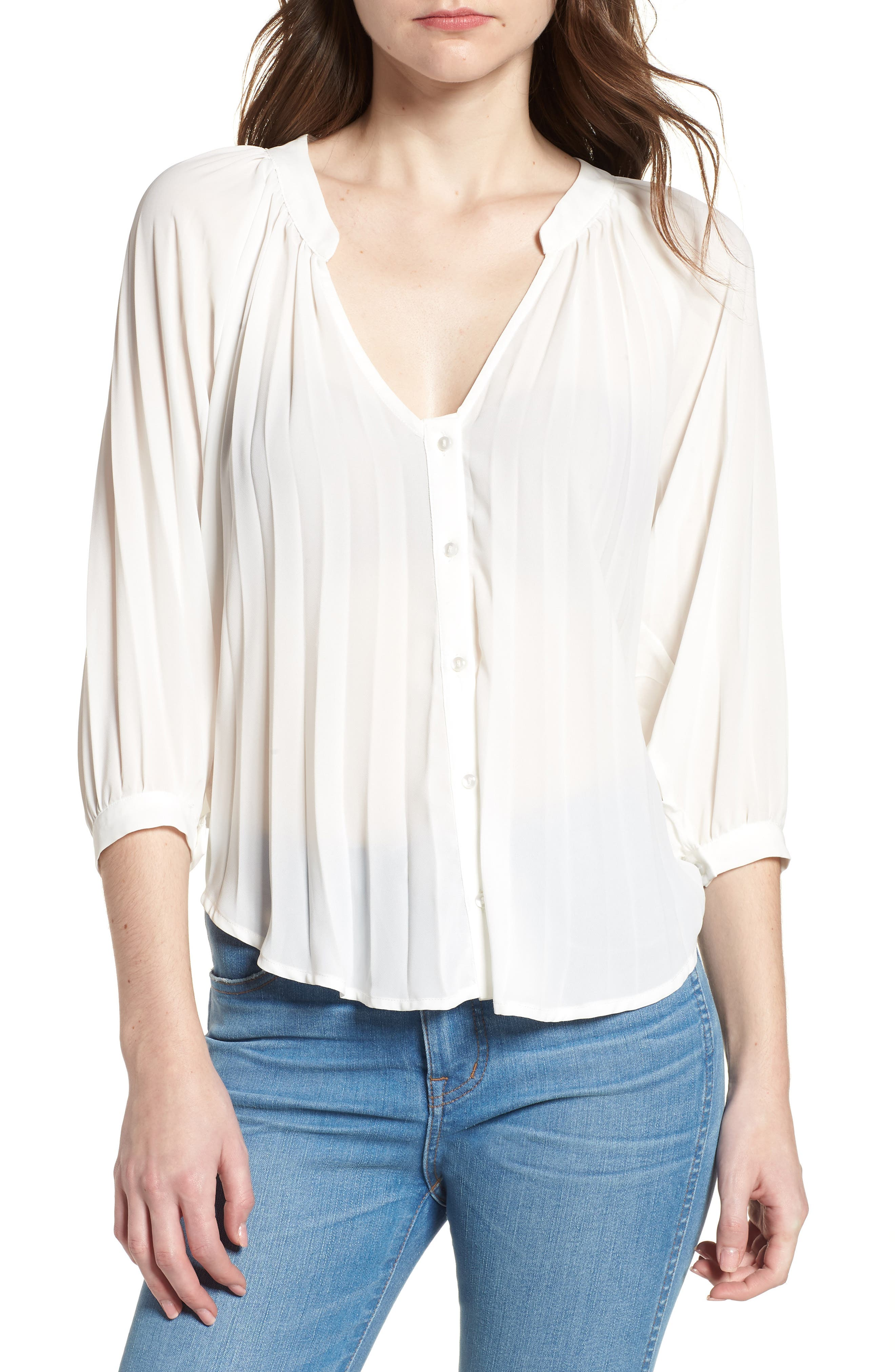 Bishop + Young Pleated Top,                         Main,                         color, WHITE