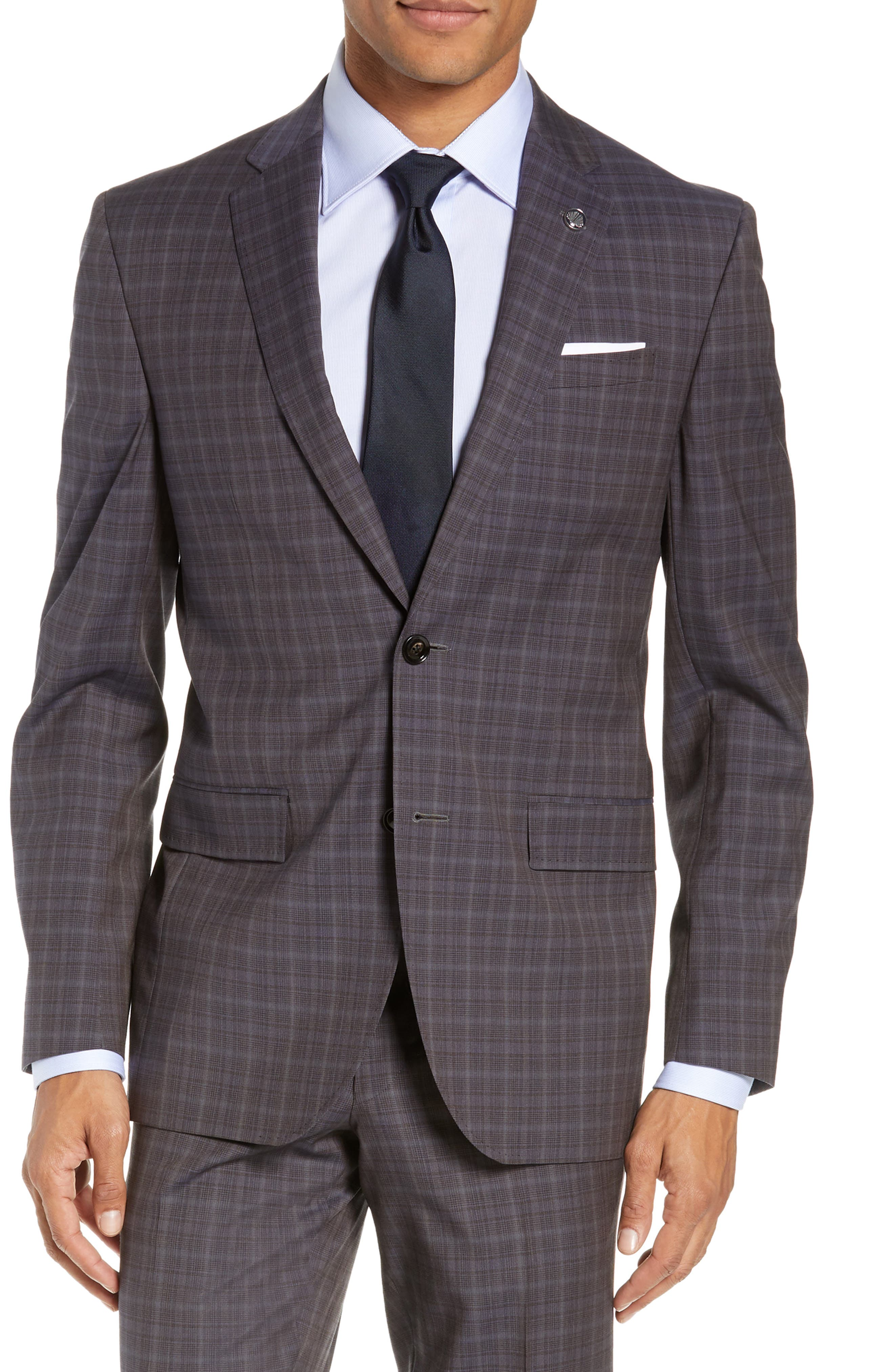 TED BAKER LONDON,                             Jay Trim Fit Plaid Wool Suit,                             Alternate thumbnail 5, color,                             TAUPE