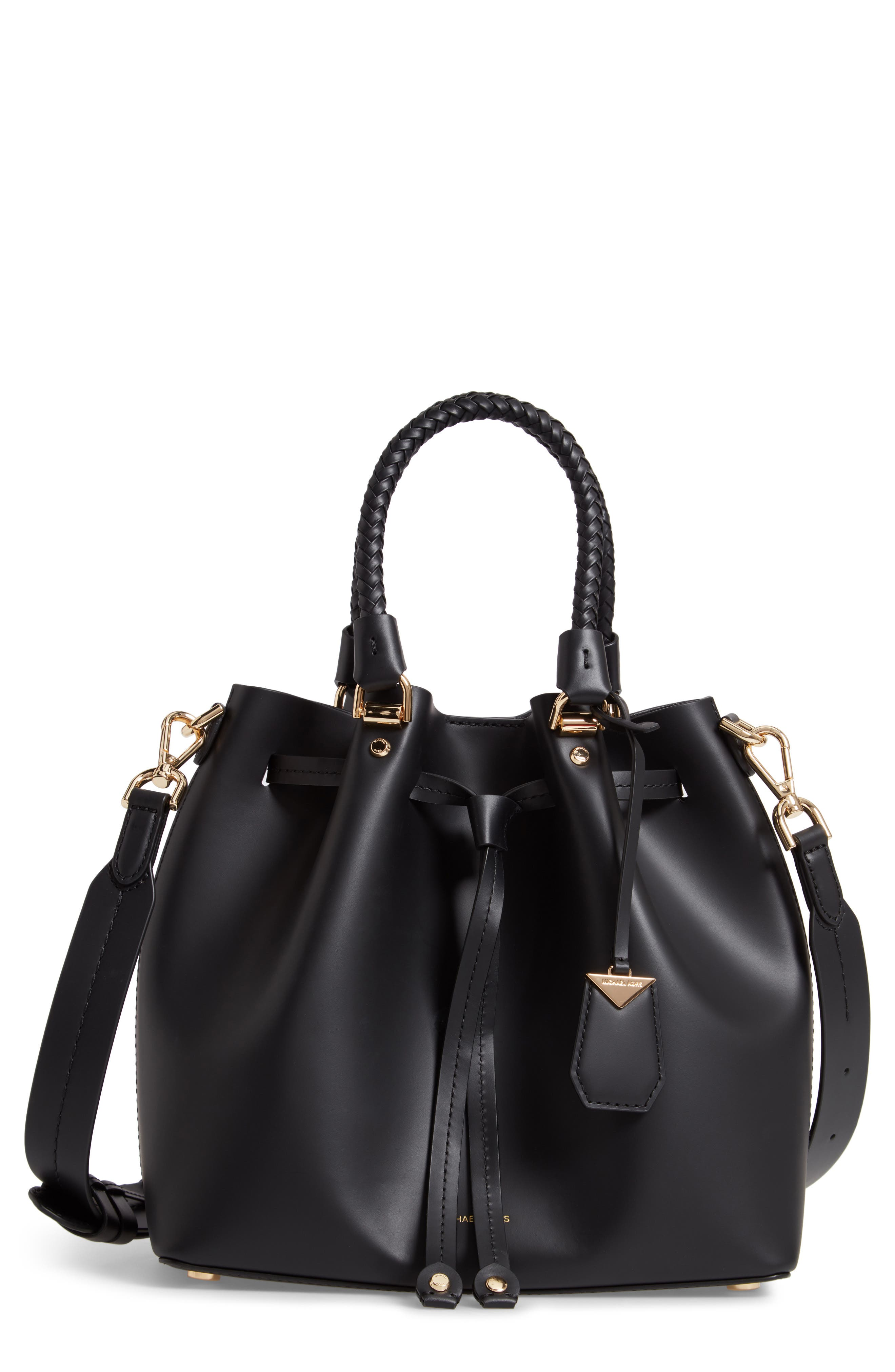 Blakely Leather Bucket Bag,                             Main thumbnail 1, color,                             BLACK