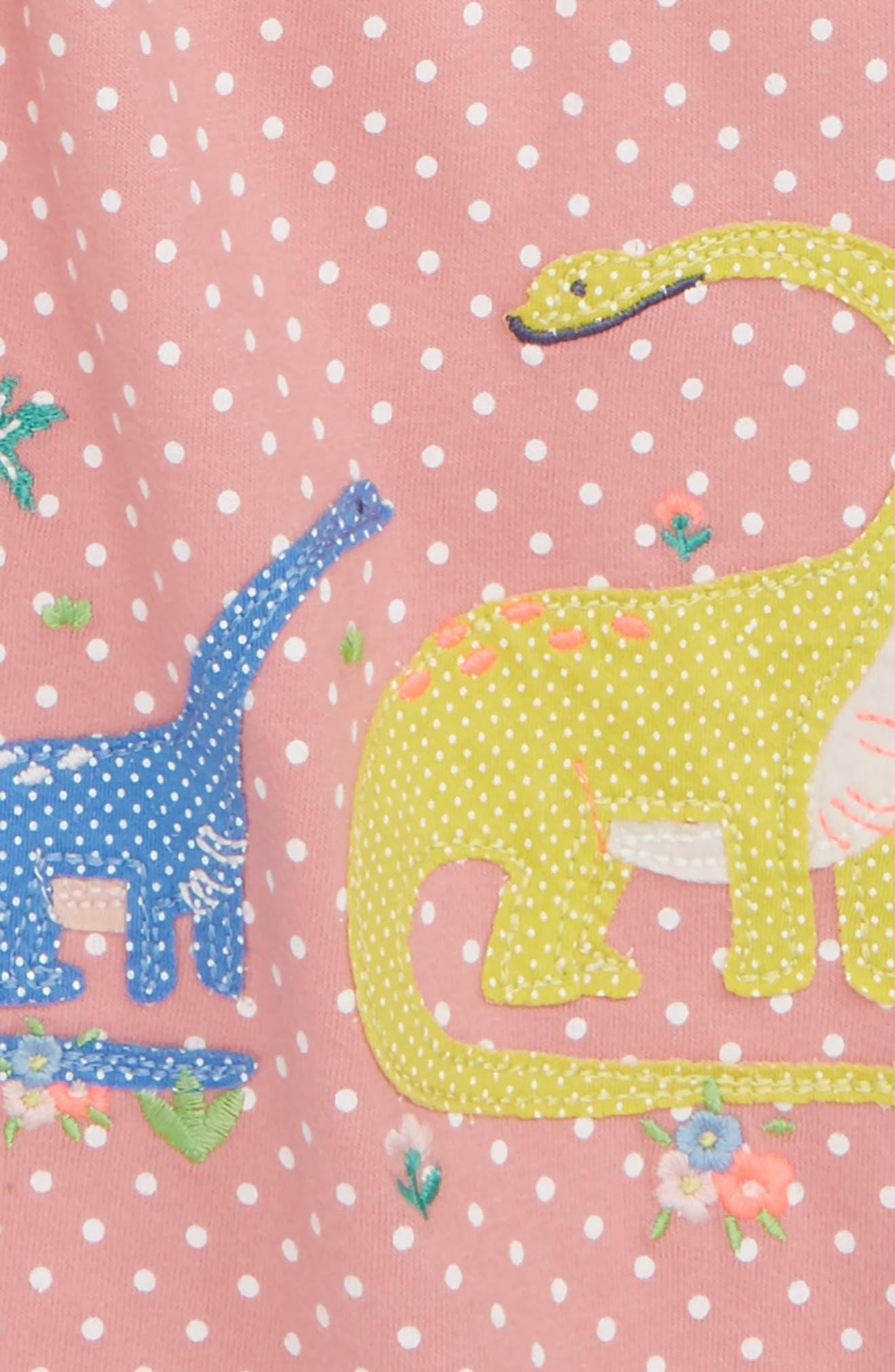 Dinosaur Appliqué Jersey Dress,                             Alternate thumbnail 3, color,                             664