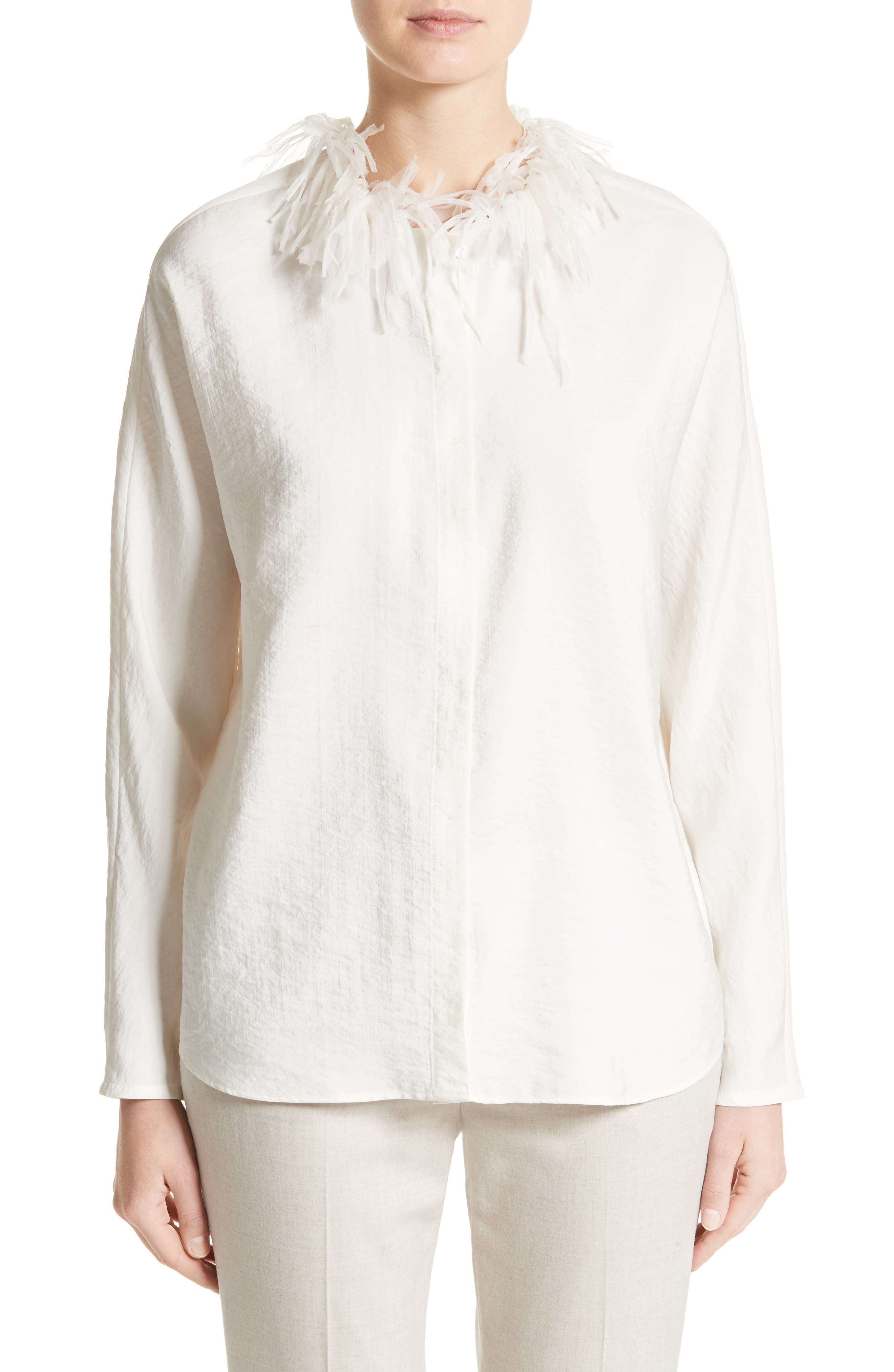 Silk Blend Twill Blouse with Organza Collar,                         Main,                         color, 101