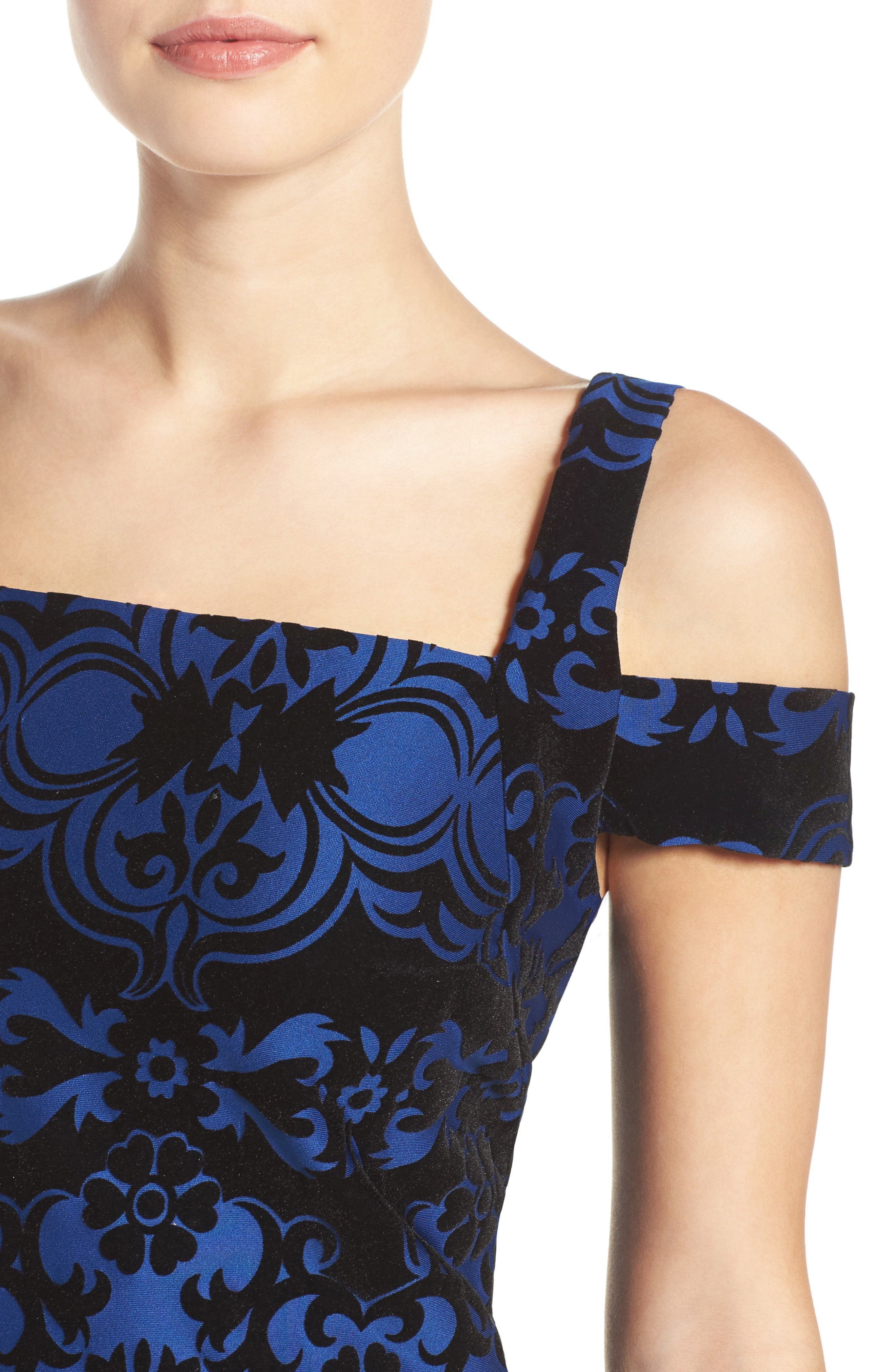 Flocked Midi Dress,                             Alternate thumbnail 5, color,