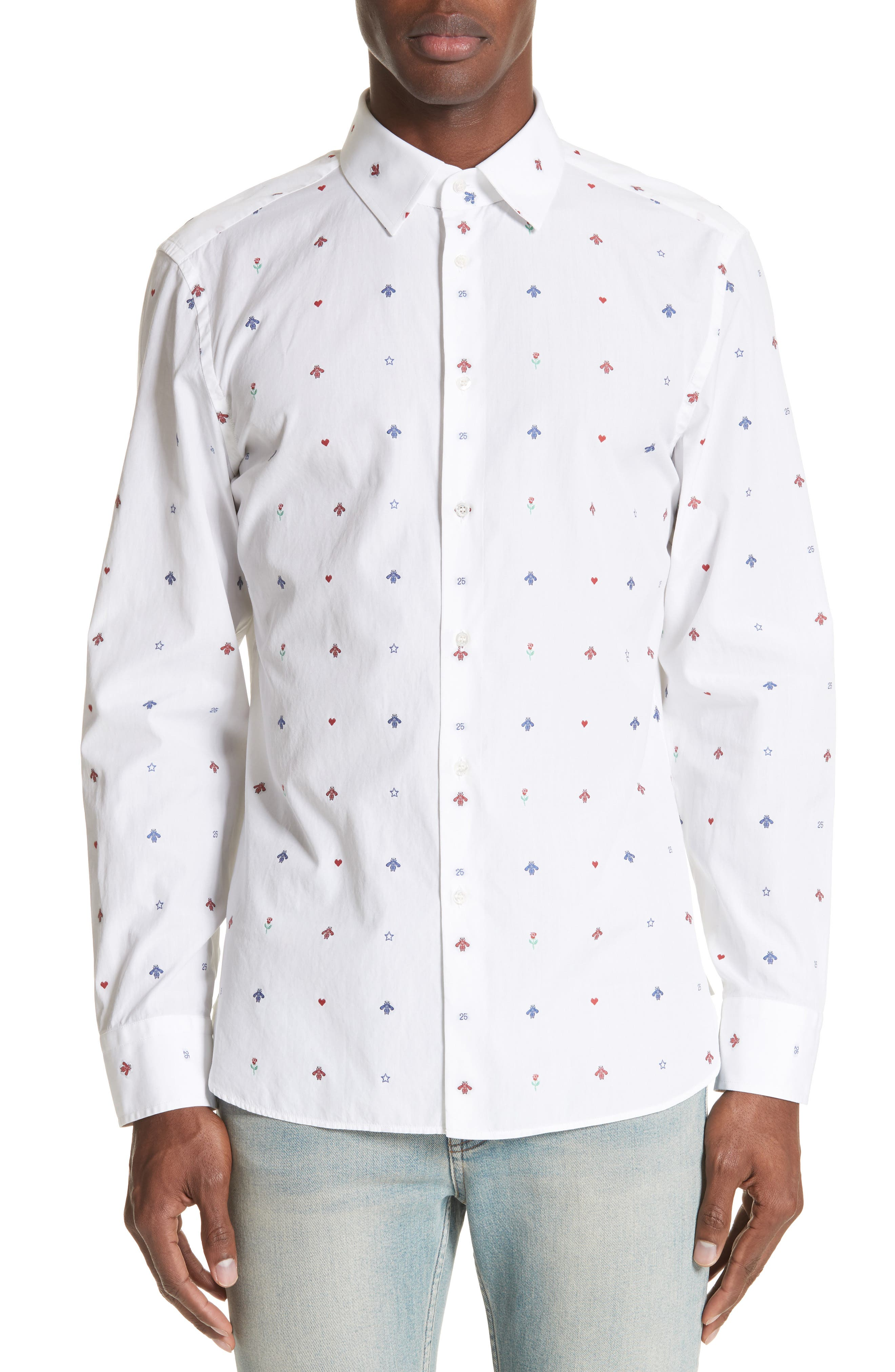 Allover Bee Print Woven Shirt,                             Main thumbnail 1, color,                             9000 WHITE