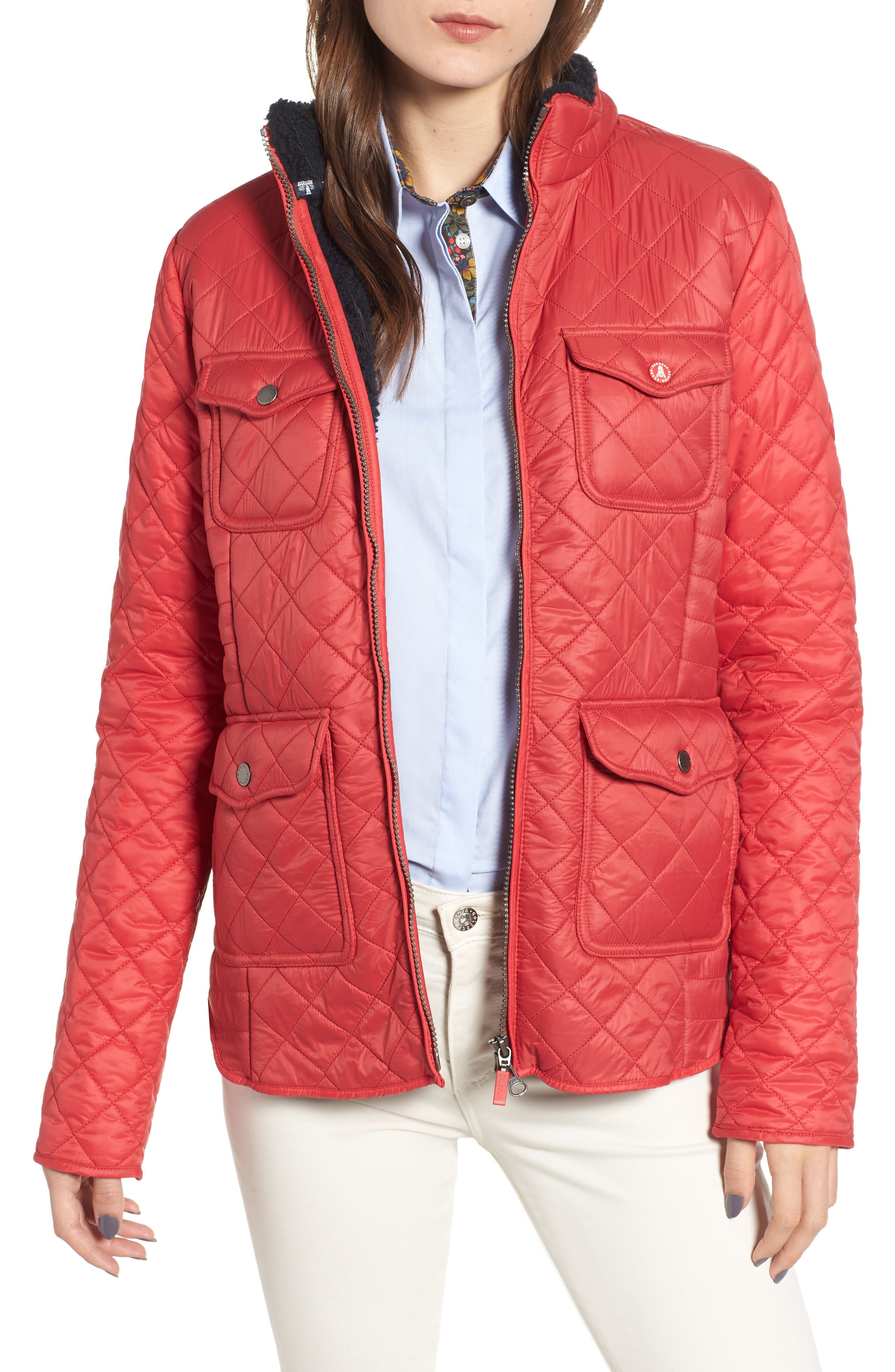 Barbour Weymouth Quilted Jacket, US / 8 UK - Red