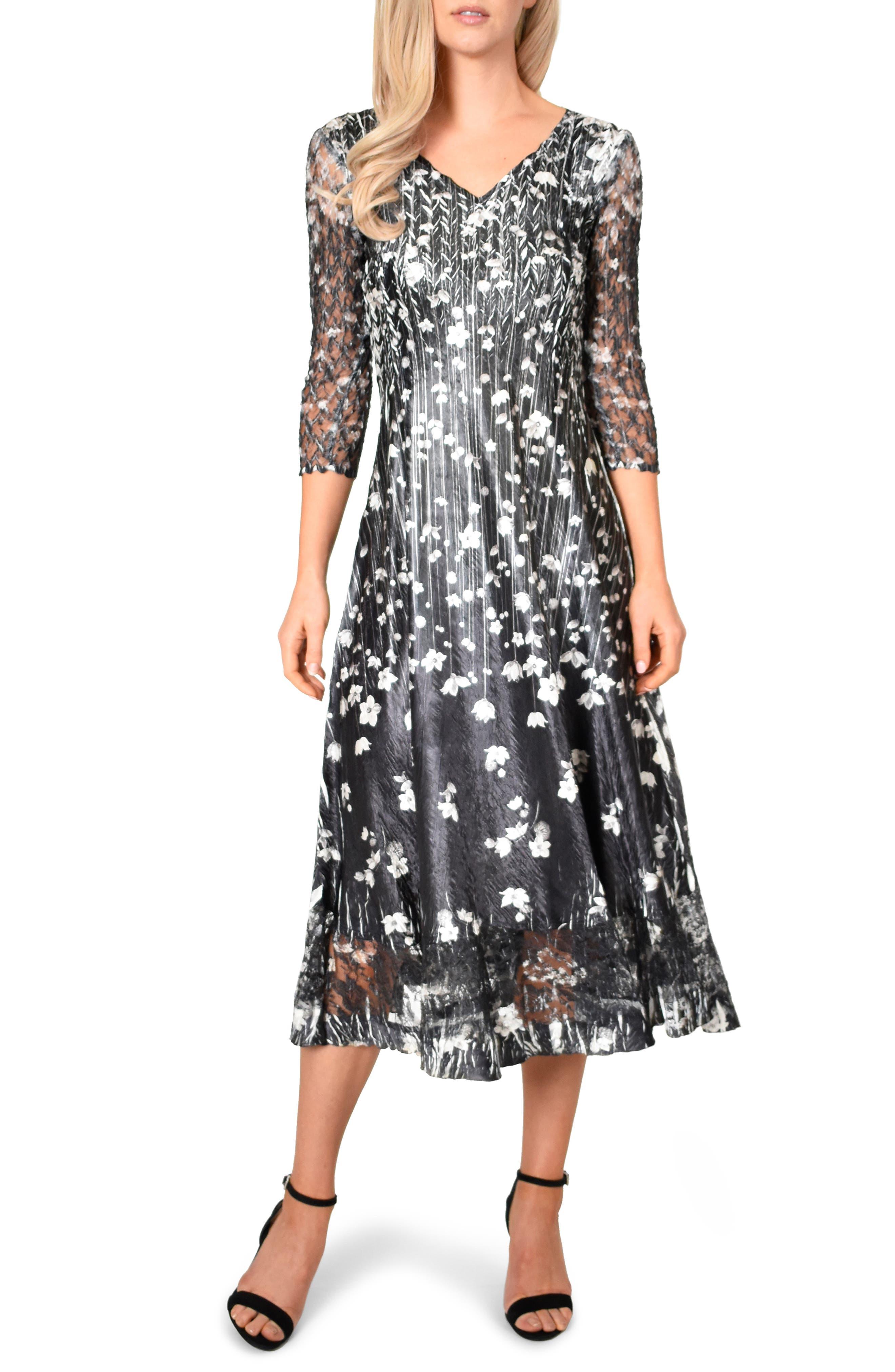 KOMAROV Charmeuse A-Line Dress, Main, color, BLACK MEADOW
