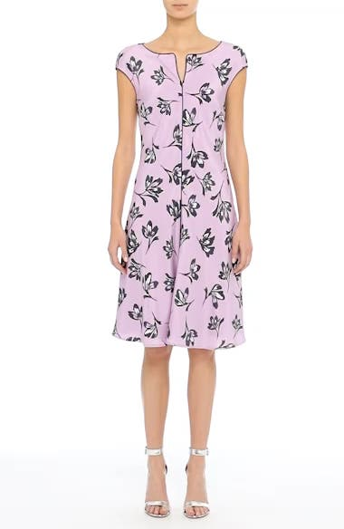 Alternate Video 7  - St. John Collection Floral Print Stretch Silk Dress