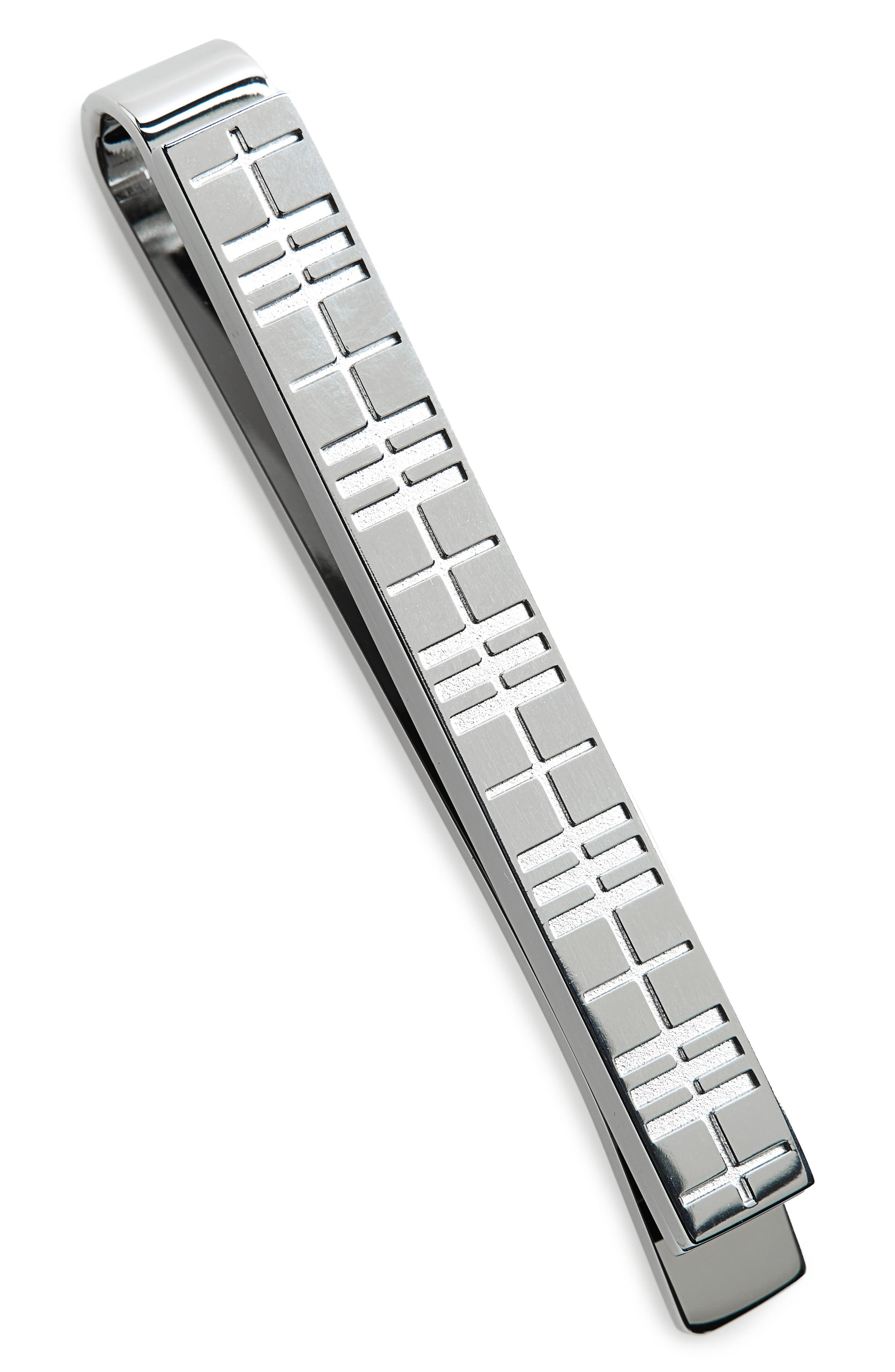a248d41f36ab Burberry Engraved Check Tie Bar In Silver Modesens