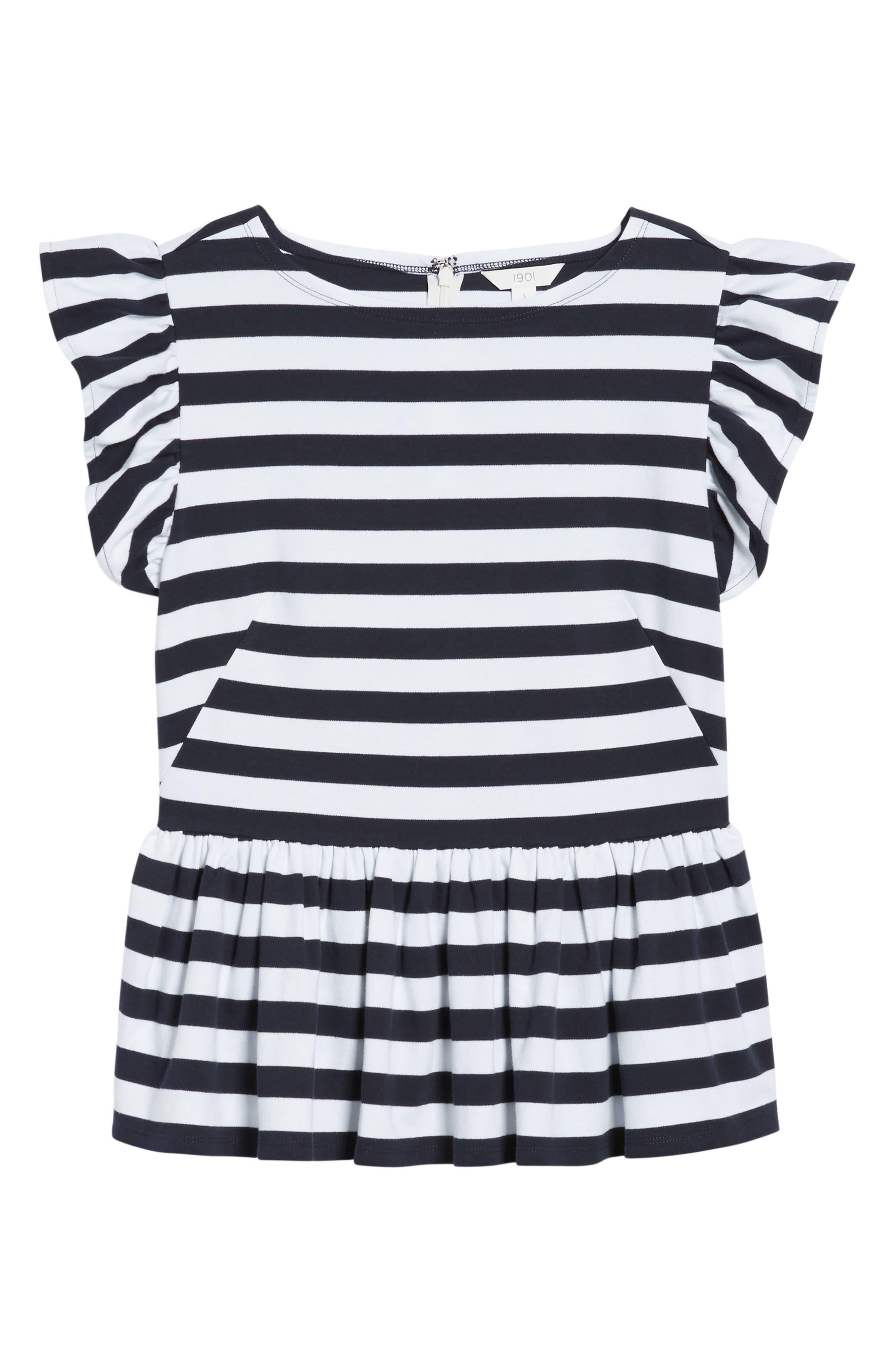 Stripe Knit Peplum Top,                             Alternate thumbnail 22, color,