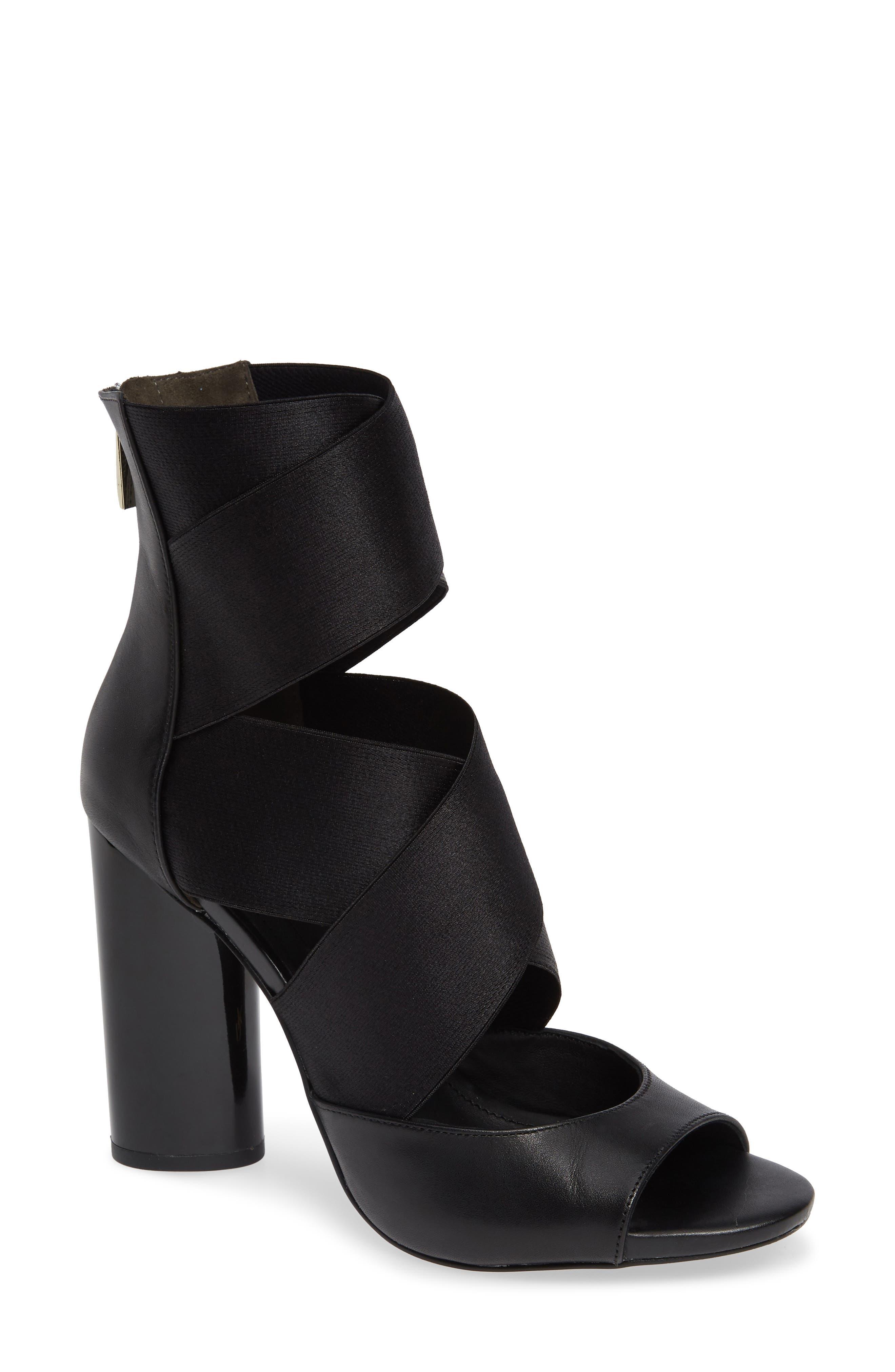 Donna Karan Briana Strappy High Sandal,                             Main thumbnail 1, color,                             BLACK CALF SHINY SATIN ELASTIC