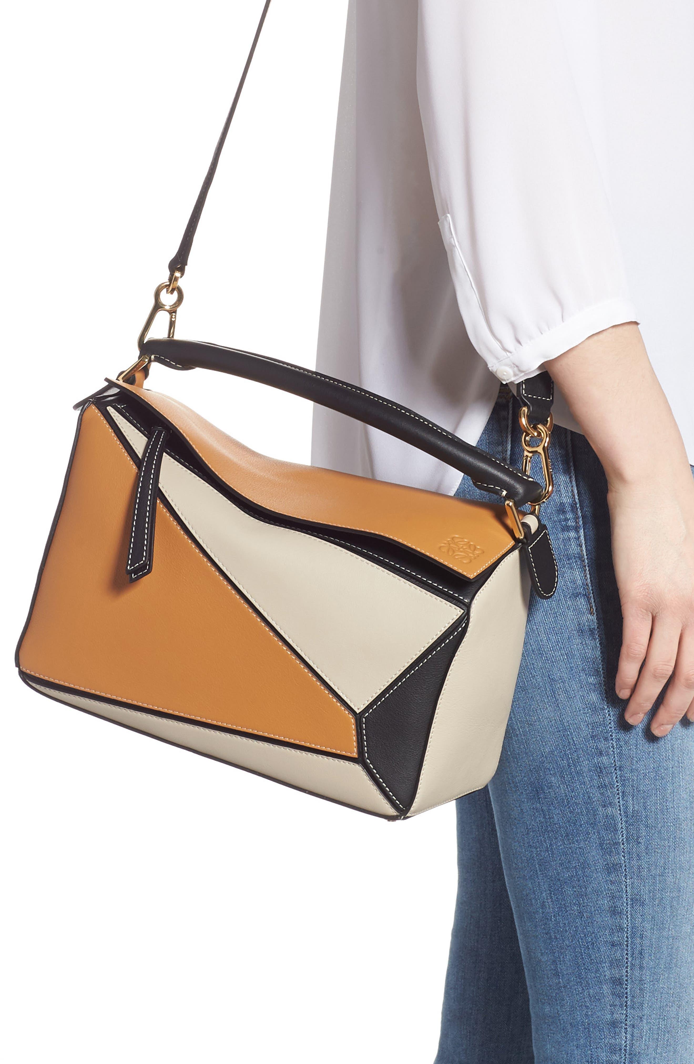 LOEWE,                             Puzzle Calfskin Leather Shoulder Bag,                             Alternate thumbnail 2, color,                             AMBER/ LIGHT OAT