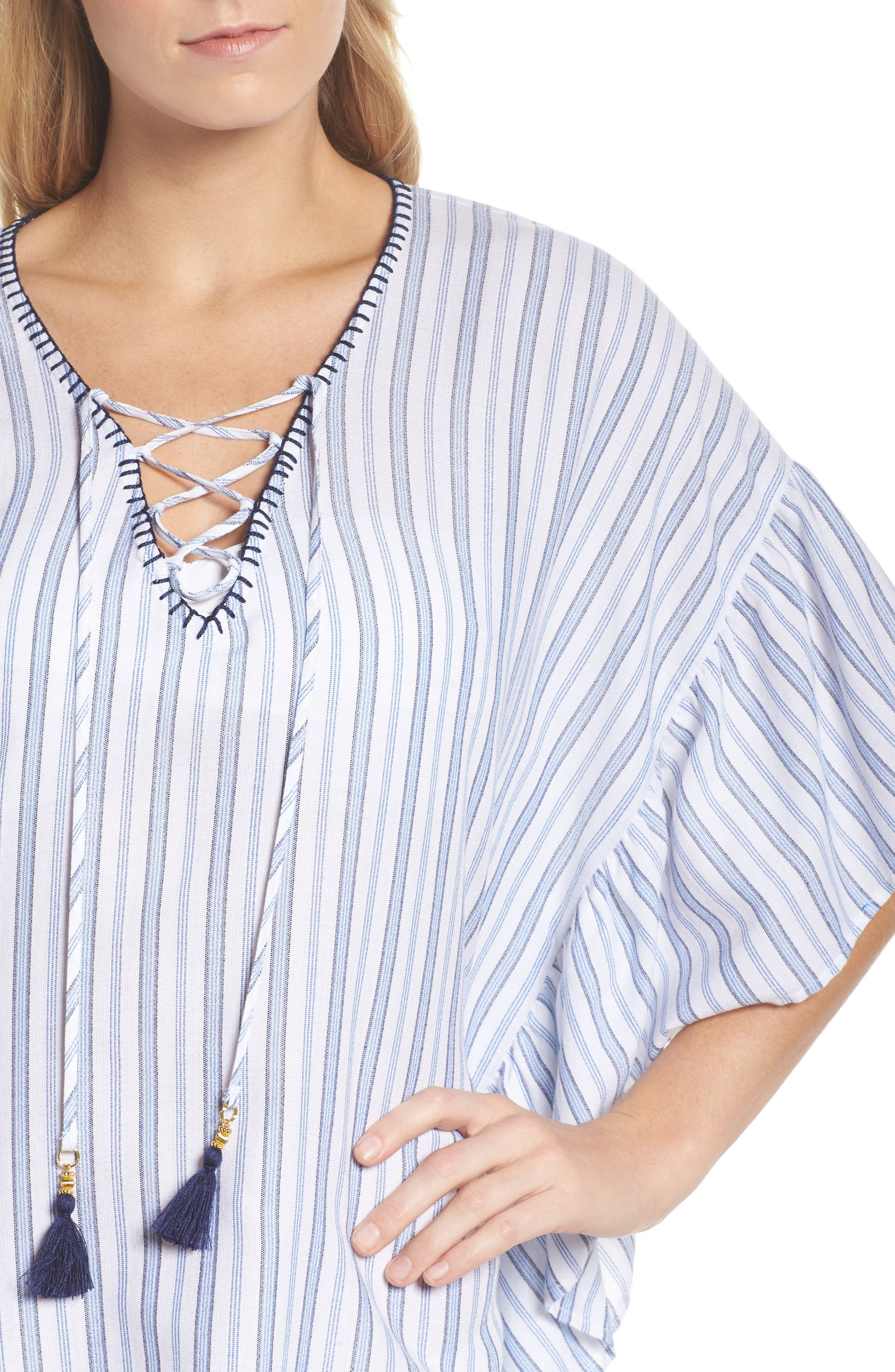 Ticking Stripe Cover-Up Tunic,                             Alternate thumbnail 4, color,                             WHITE