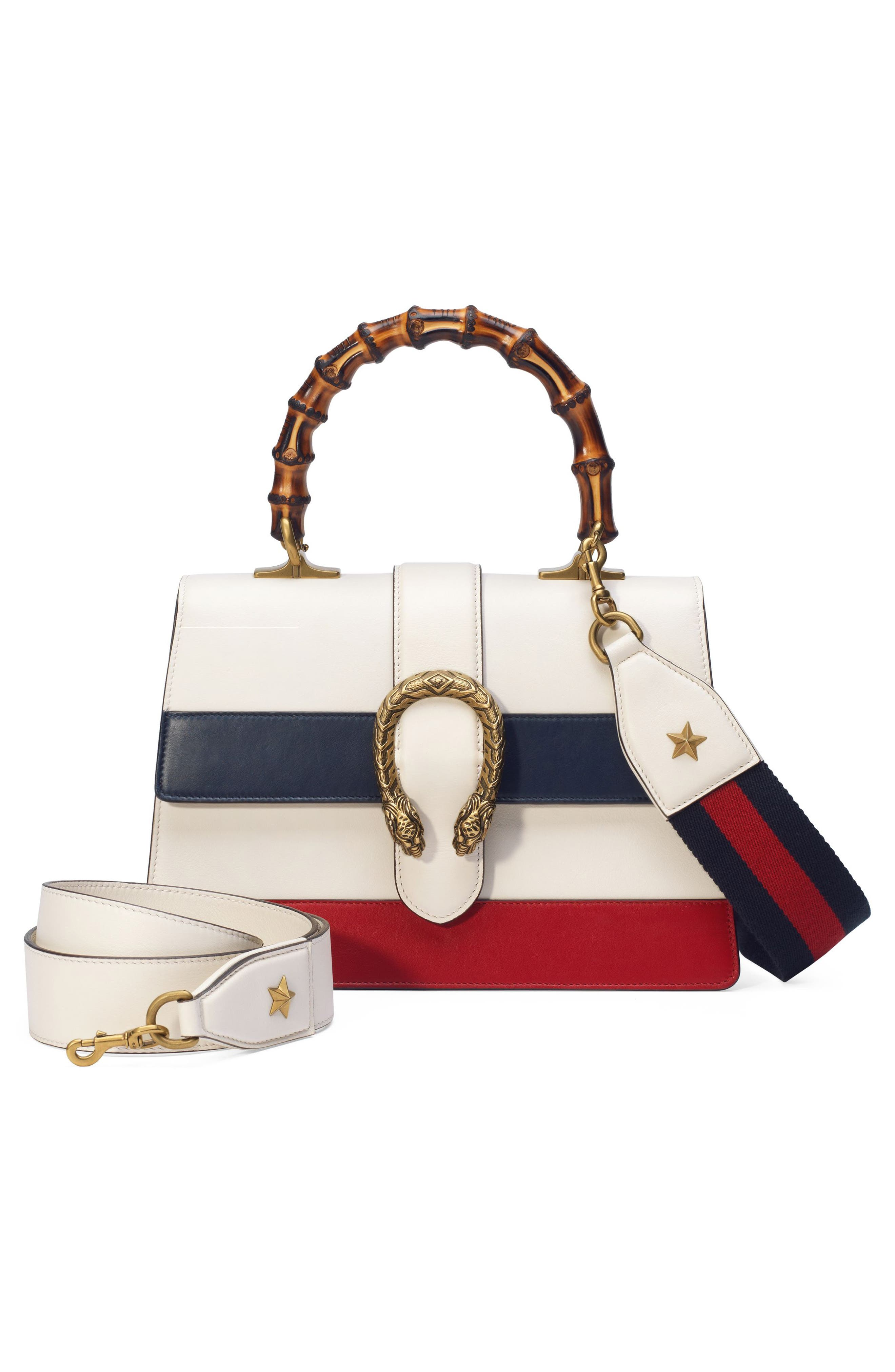 Small Dionysus Top Handle Leather Shoulder Bag,                             Alternate thumbnail 6, color,                             MYSTIC WHITE/ BLUE/ RED