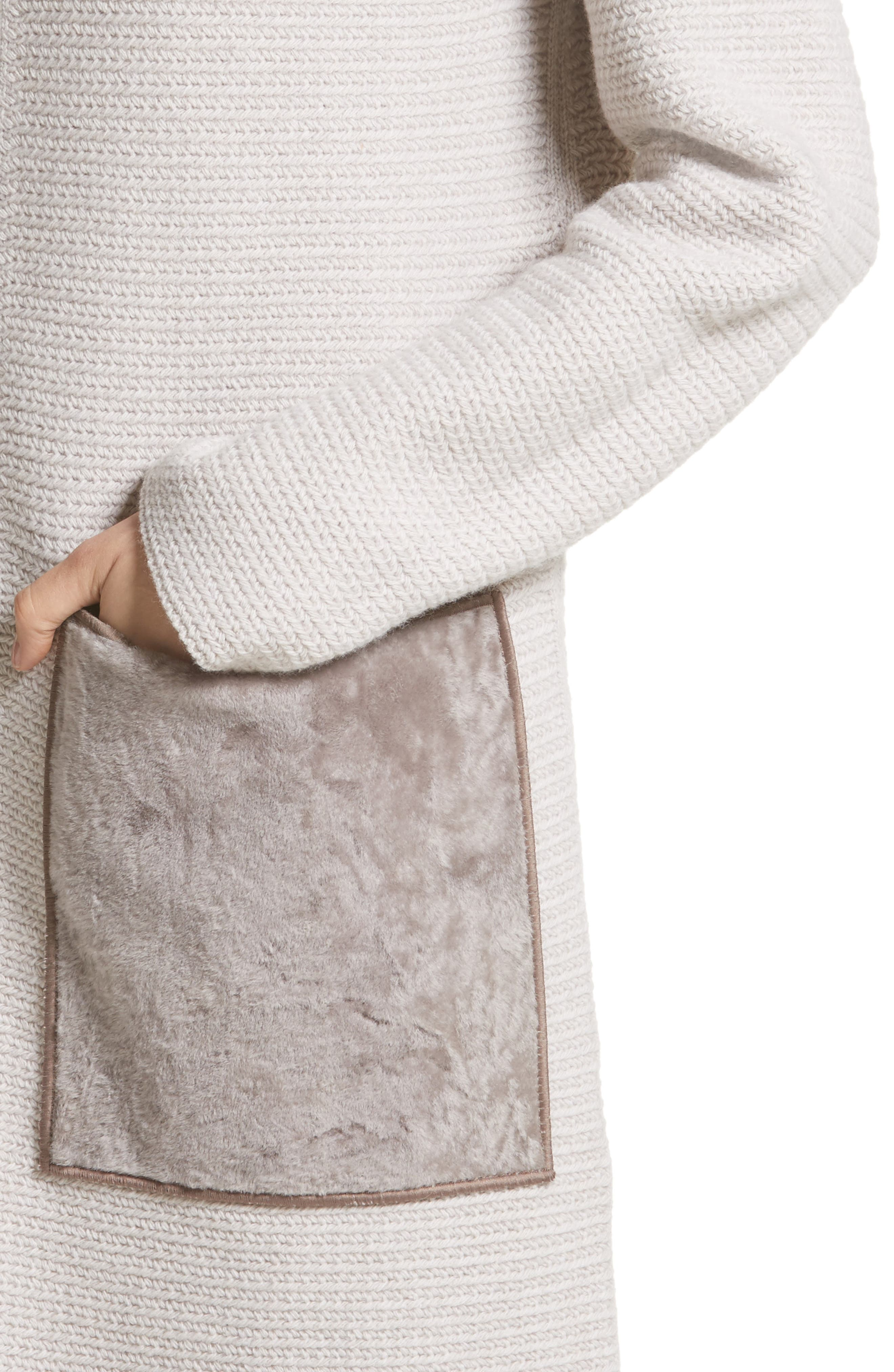 Wool & Cashmere Herringbone Stitch Cardigan with Genuine Shearling Pockets,                             Alternate thumbnail 4, color,