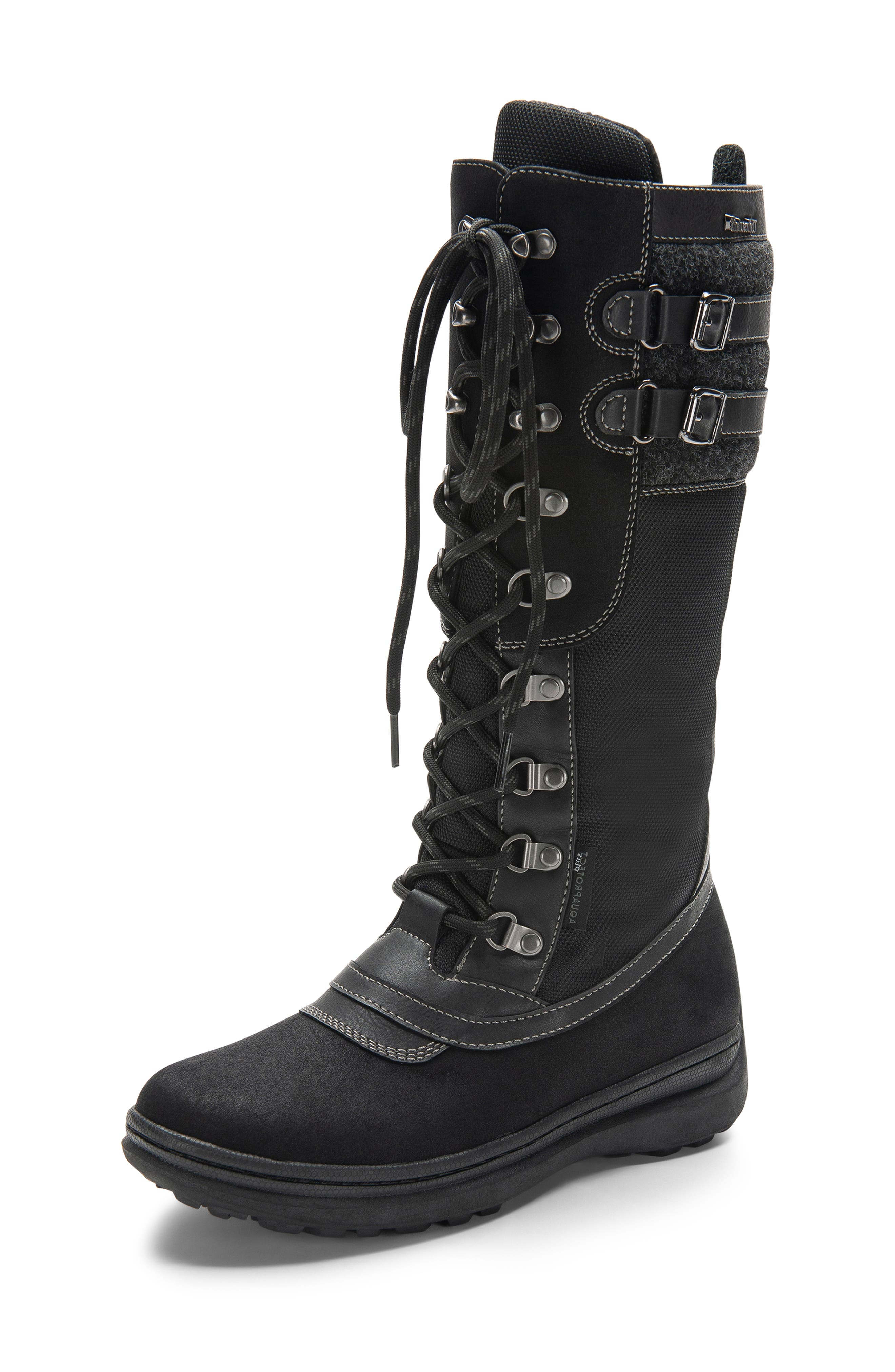 India Waterproof Snow Boot,                             Alternate thumbnail 7, color,                             BLACK LEATHER