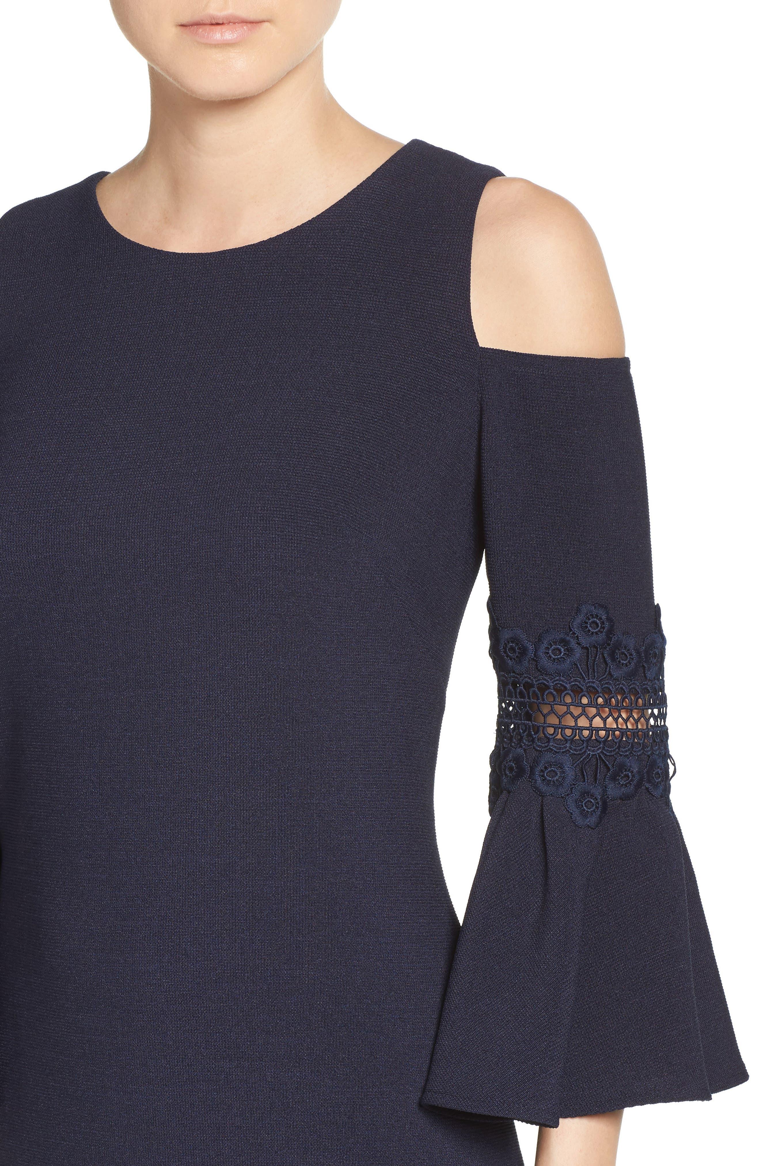 Lace Appliqué Crepe Cold Shoulder Dress,                             Alternate thumbnail 4, color,                             410