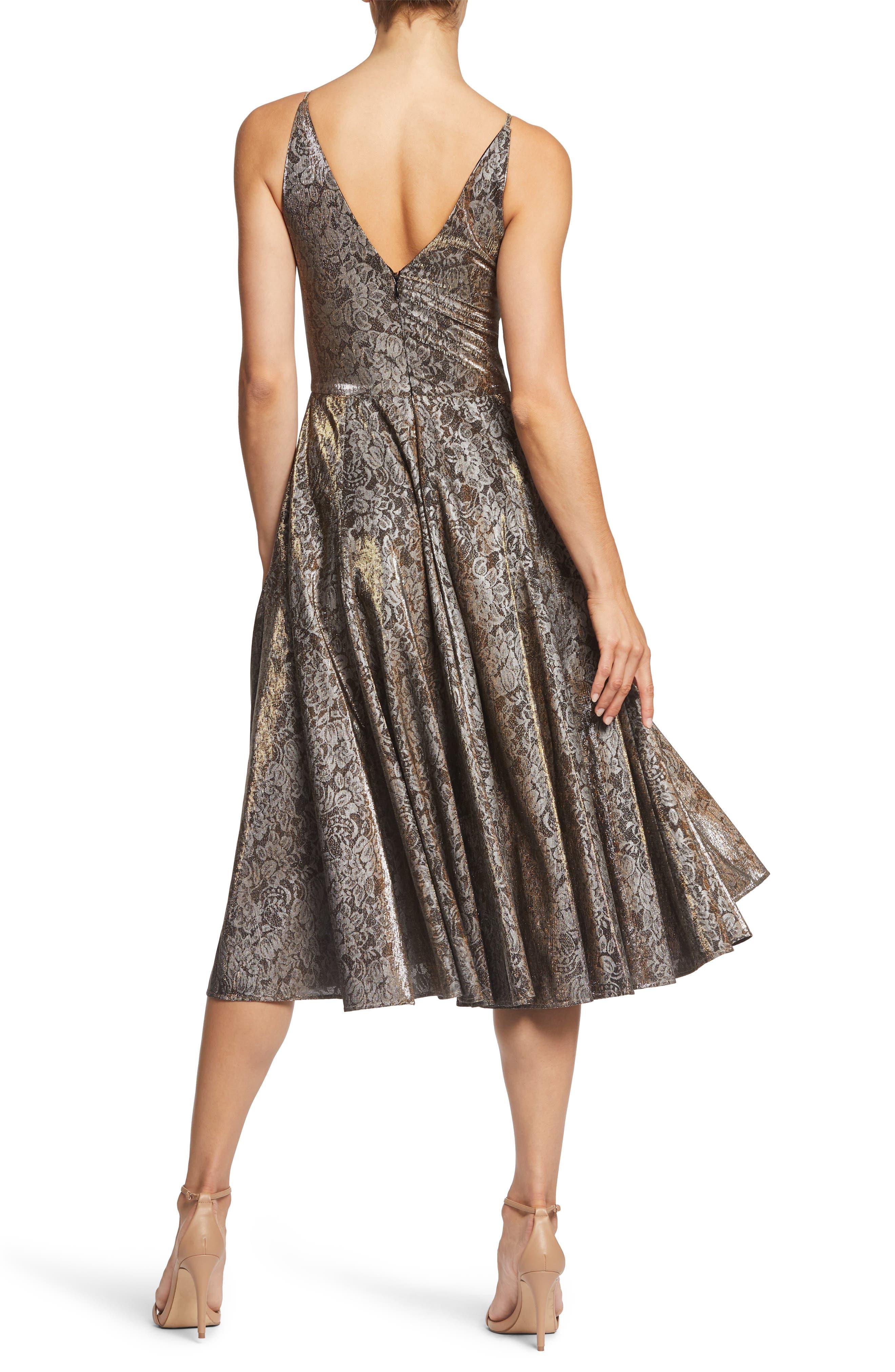 Delilah Plunging Jacquard Fit & Flare Midi Dress,                             Alternate thumbnail 2, color,                             001