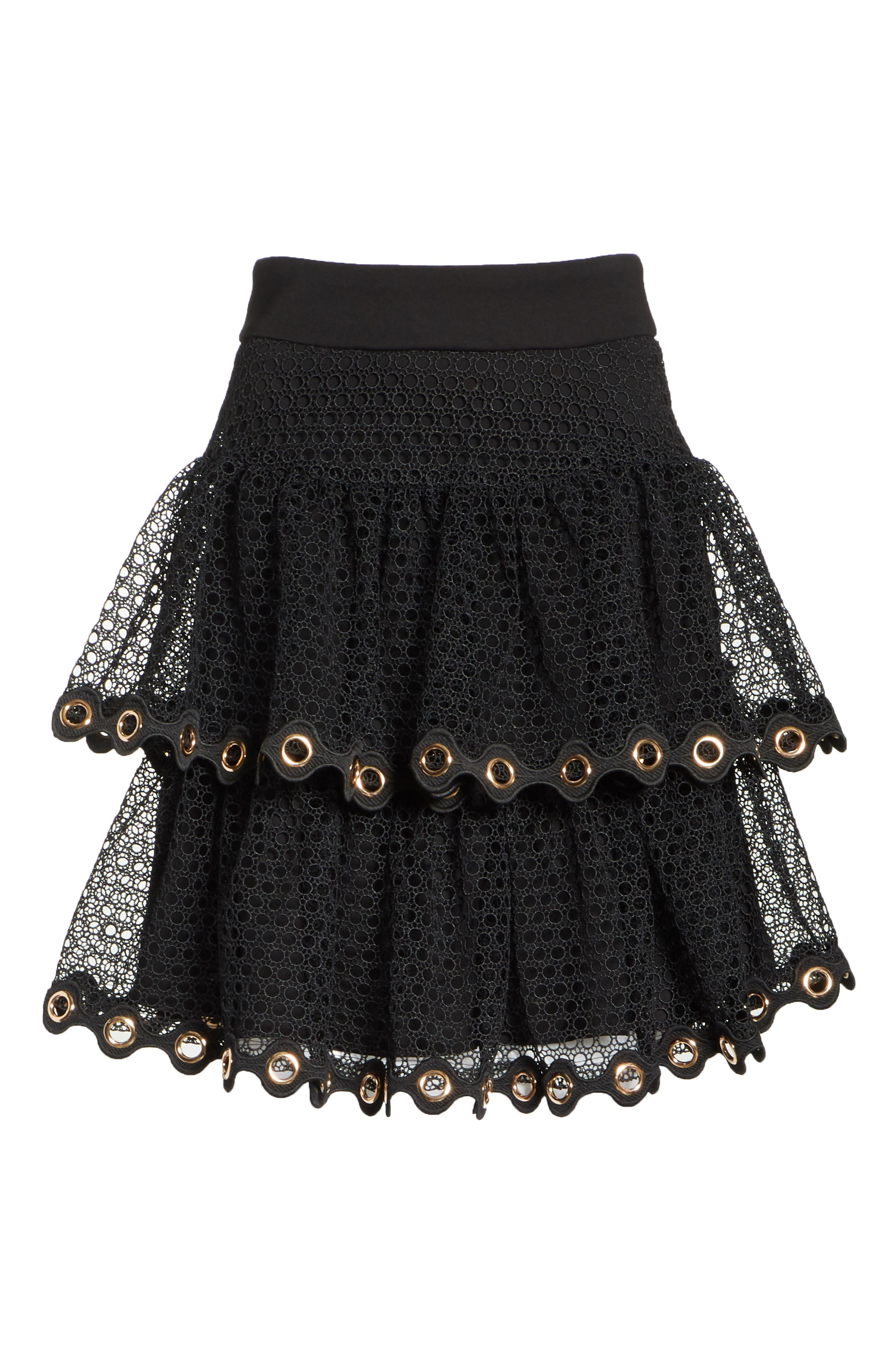 James Tiered Ruffle Grommet Skirt,                             Alternate thumbnail 6, color,