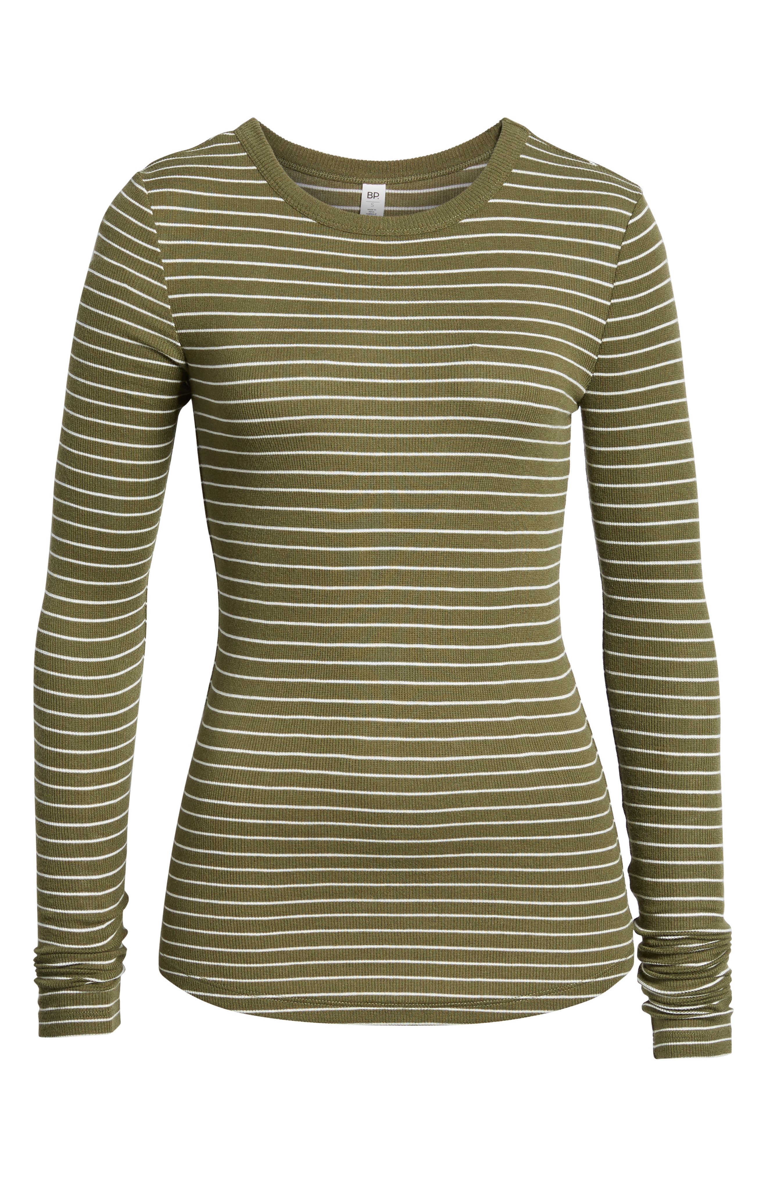 Ribbed Long Sleeve Tee,                             Alternate thumbnail 6, color,                             OLIVE BURNT TARYN STRIPE