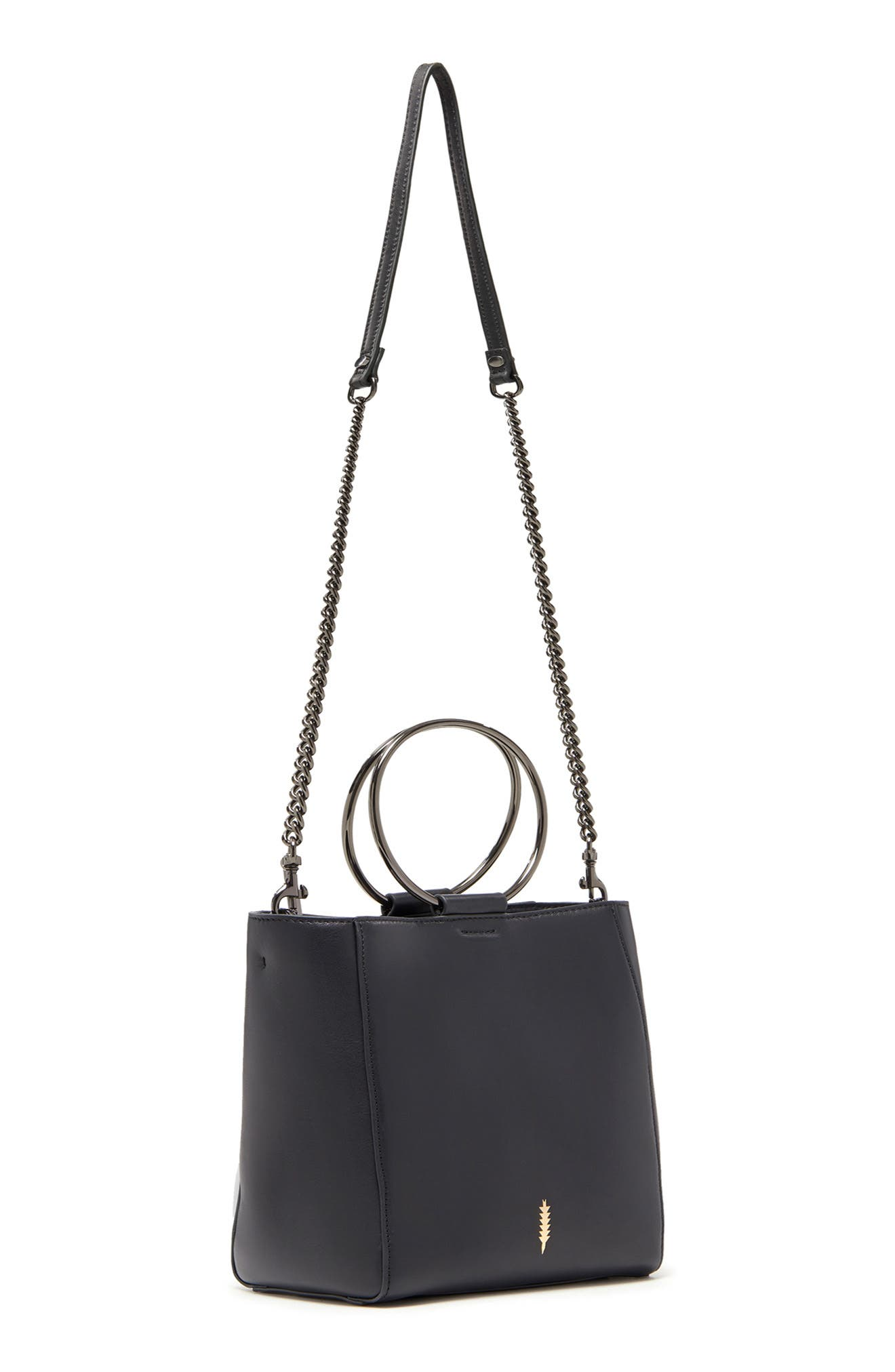 THACKER,                             Le Bucket Leather Bag,                             Alternate thumbnail 5, color,                             BLACK/ GUNMETAL