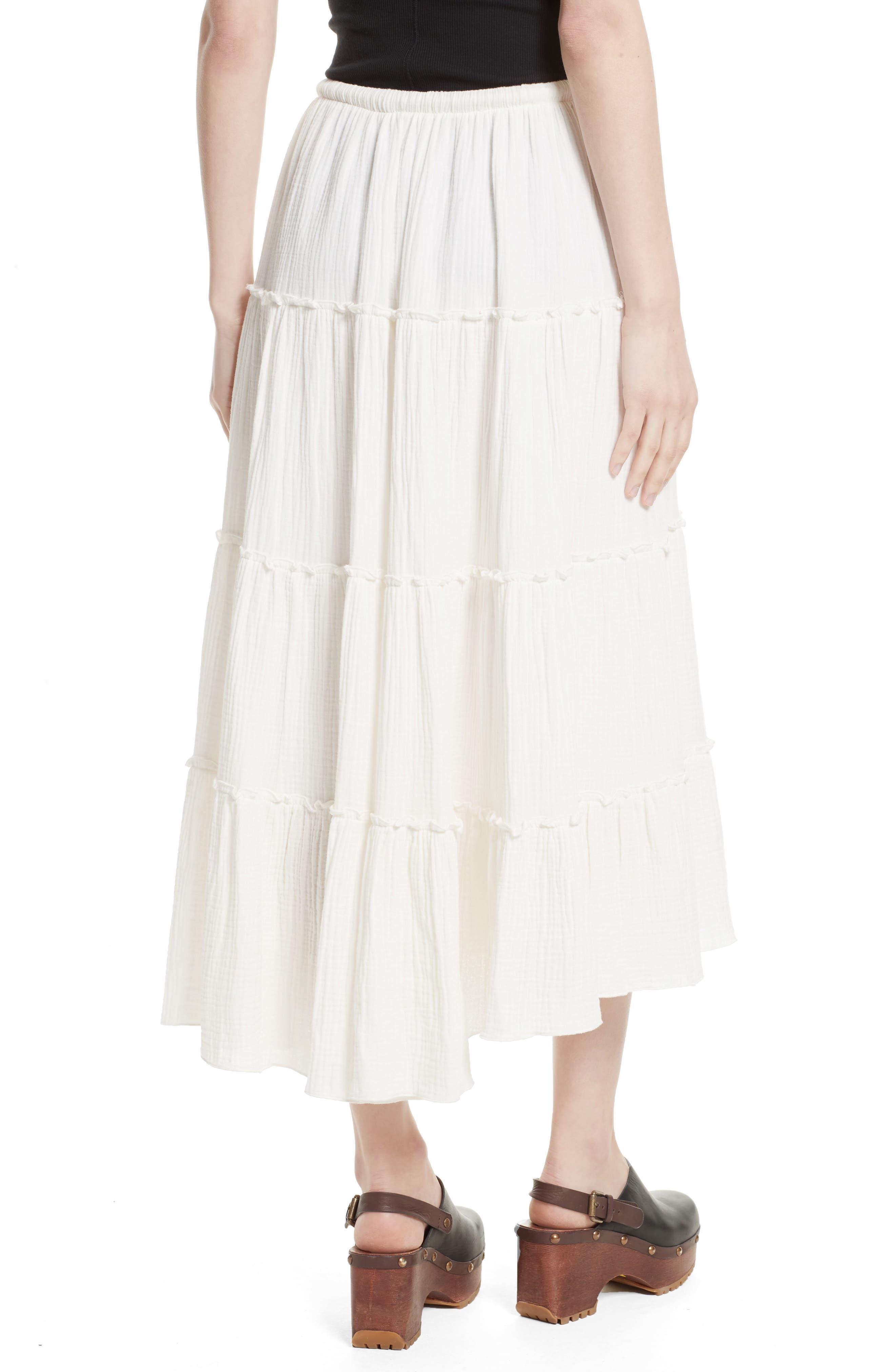 Crinkled Cotton Midi Skirt,                             Alternate thumbnail 2, color,