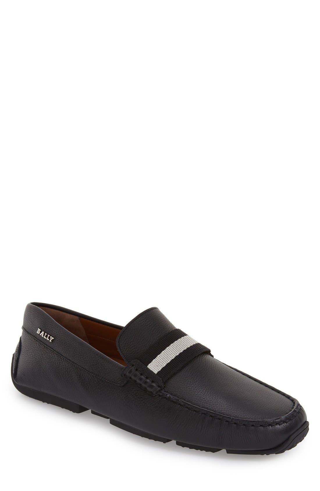 'Pearce' Driving Shoe,                         Main,                         color, BLACK LEATHER