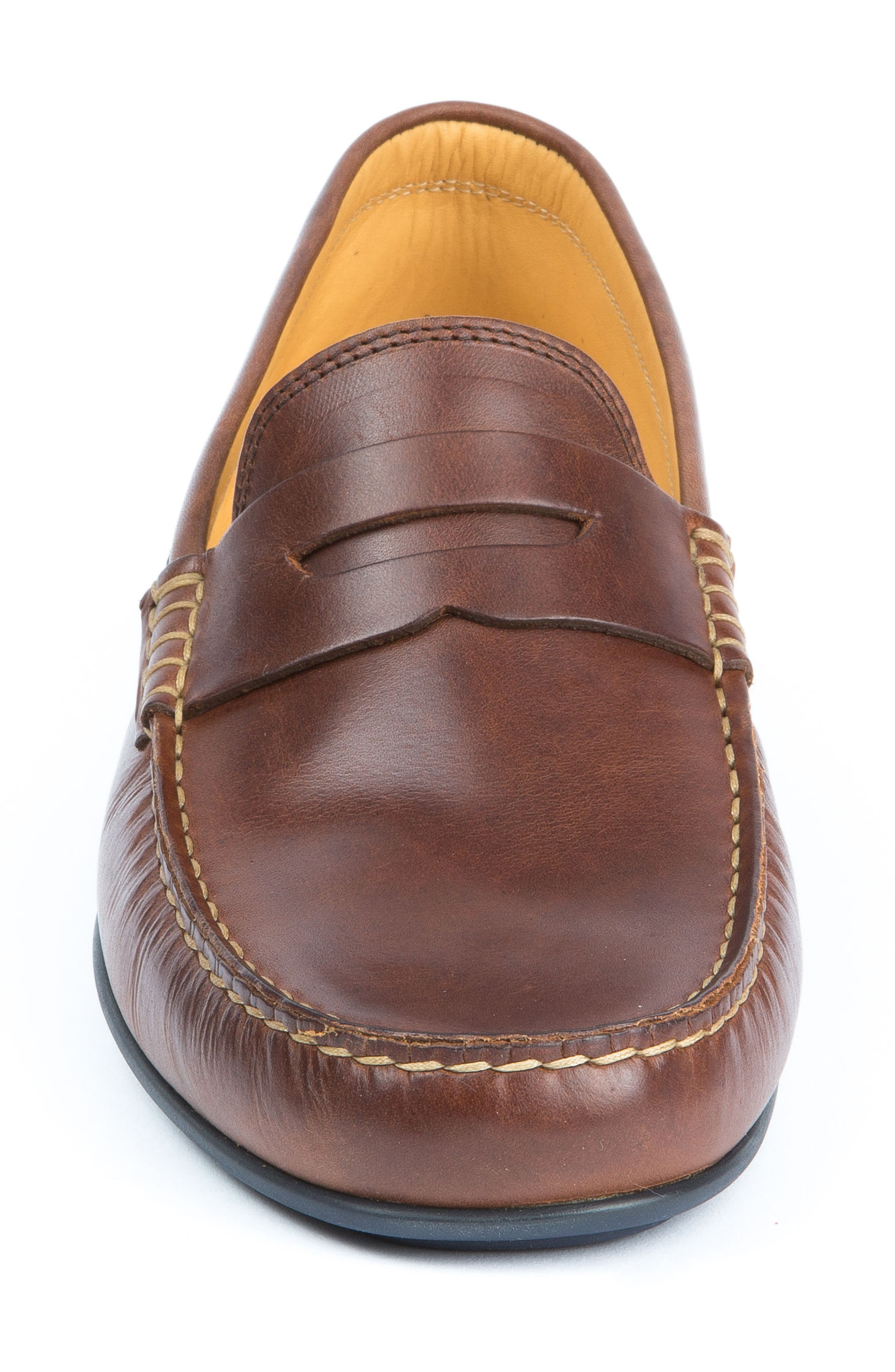 'Clinton' Leather Penny Loafer,                             Alternate thumbnail 5, color,                             LIGHT BROWN
