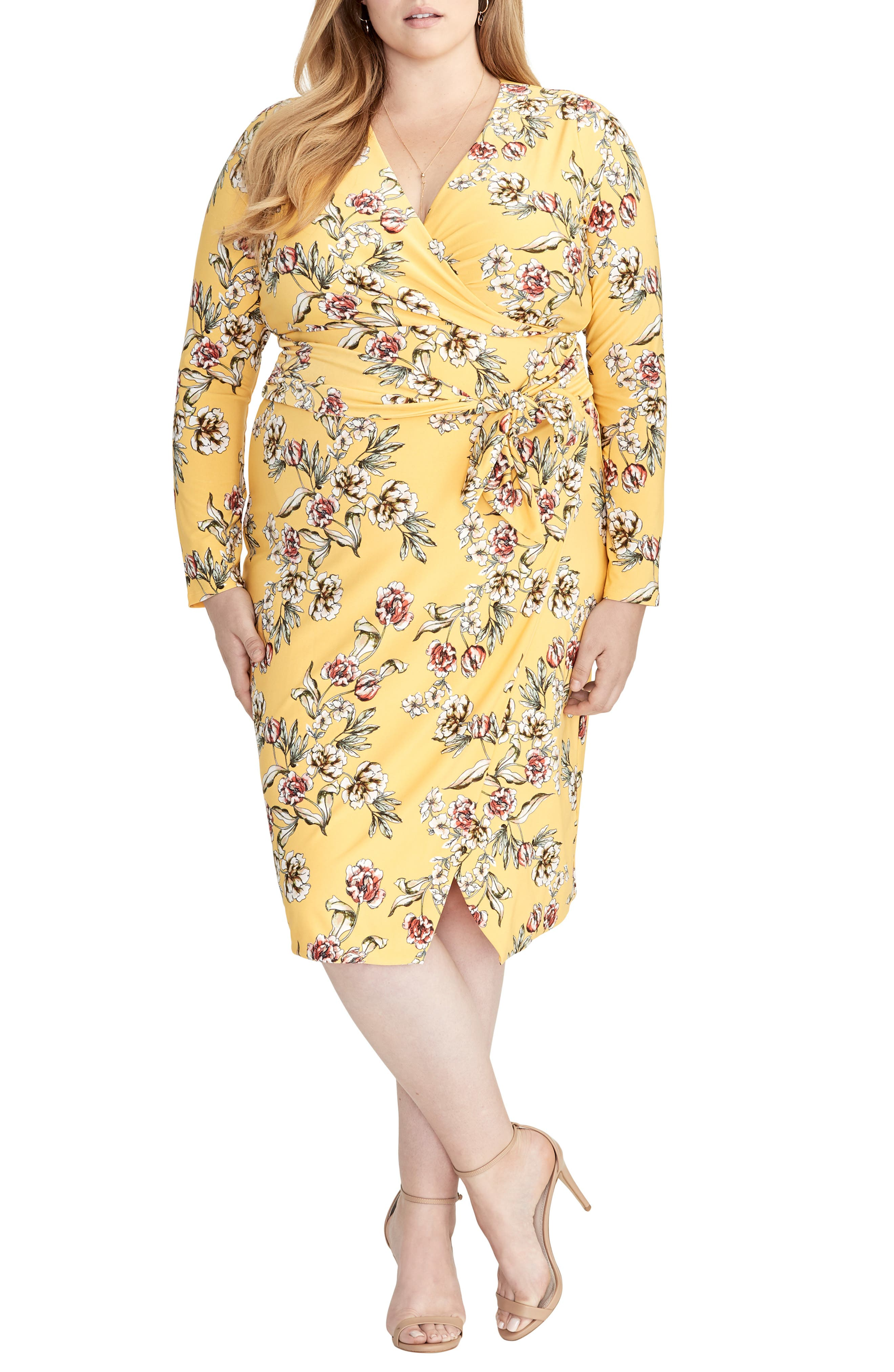 Plus Size Rachel Rachel Roy Floral Faux Wrap Dress, Yellow