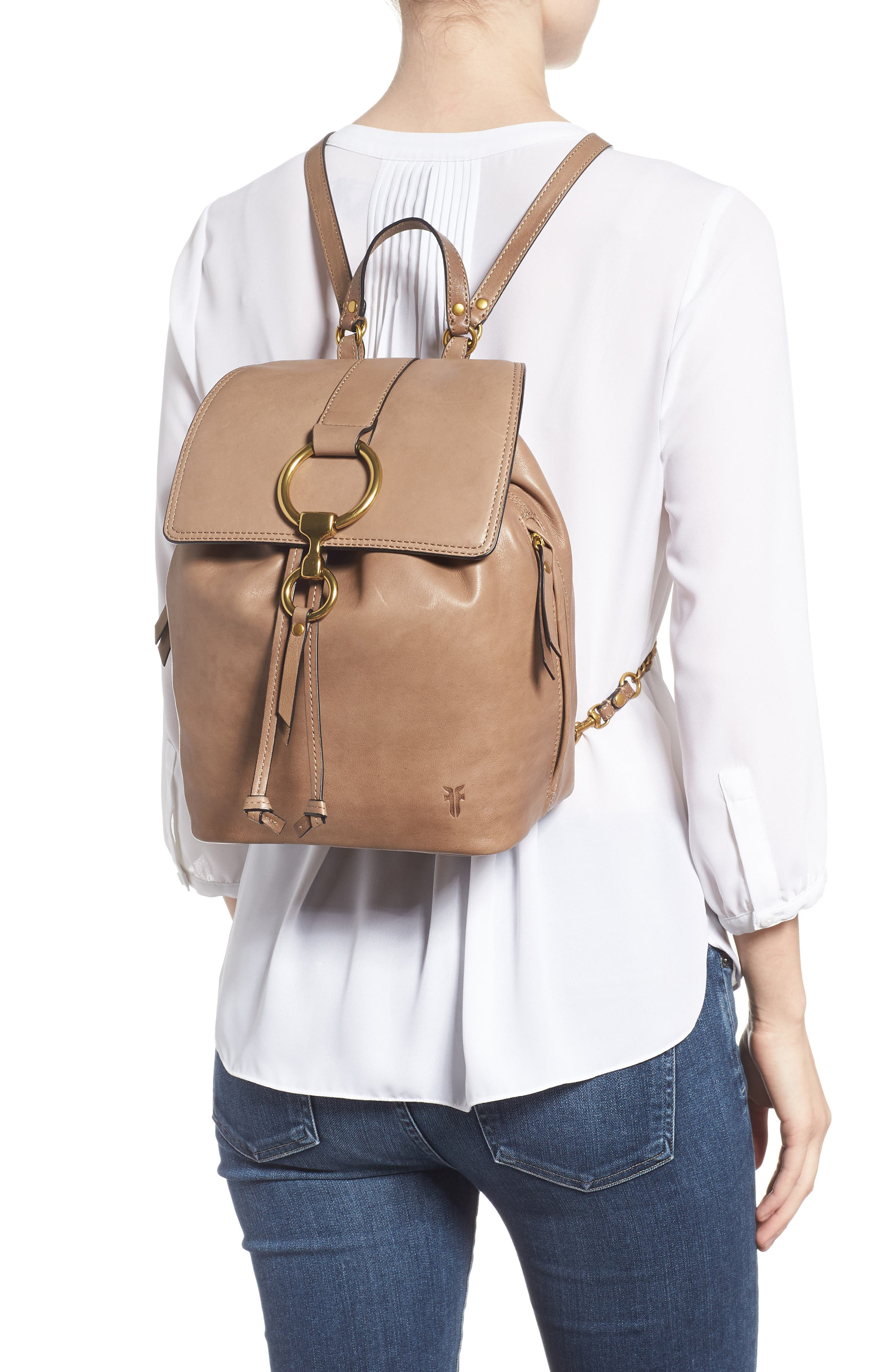 Small Ilana Leather Backpack,                             Alternate thumbnail 2, color,                             GREY