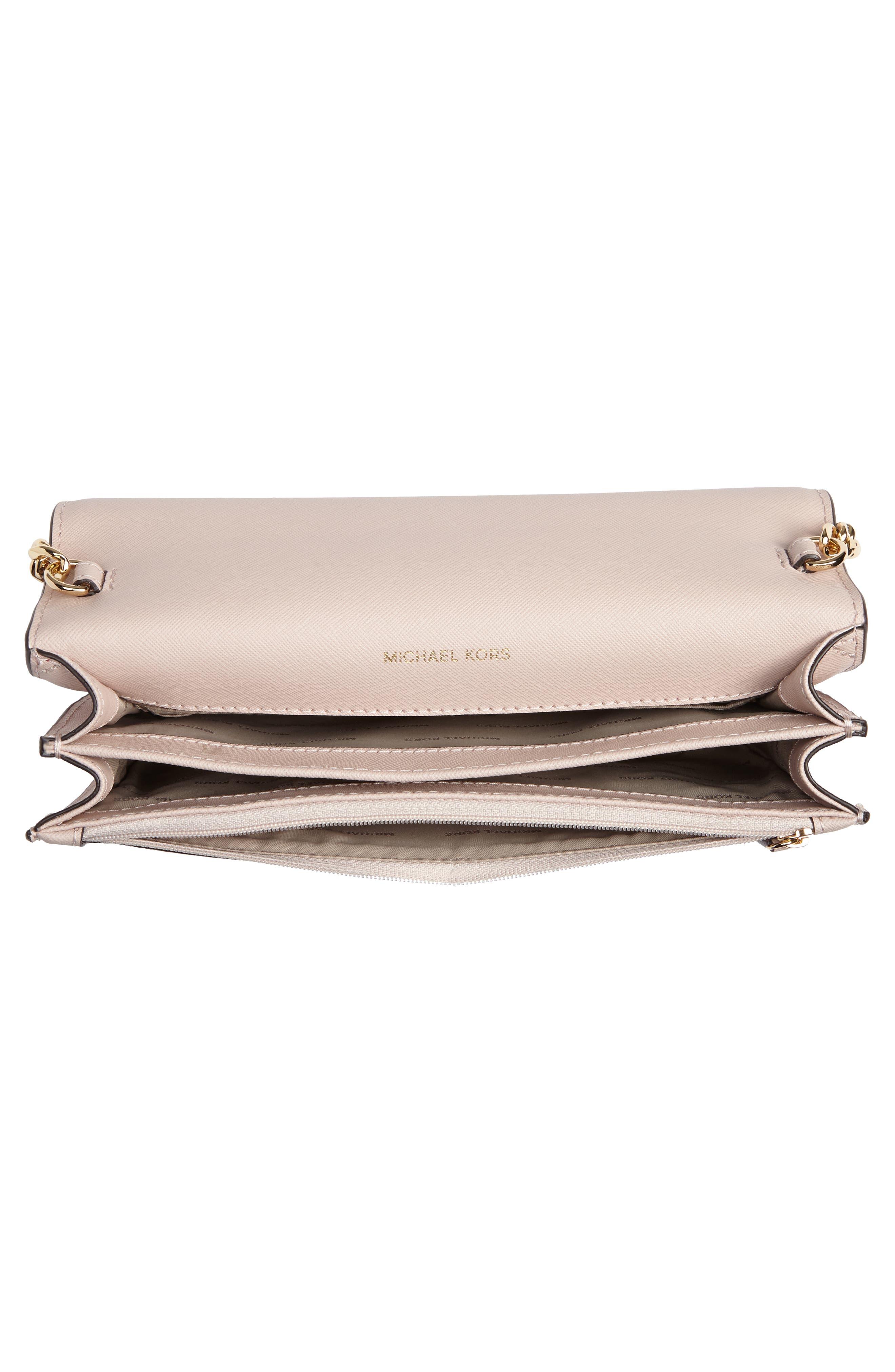 Large Daniela Leather Crossbody Bag,                             Alternate thumbnail 4, color,                             SOFT PINK
